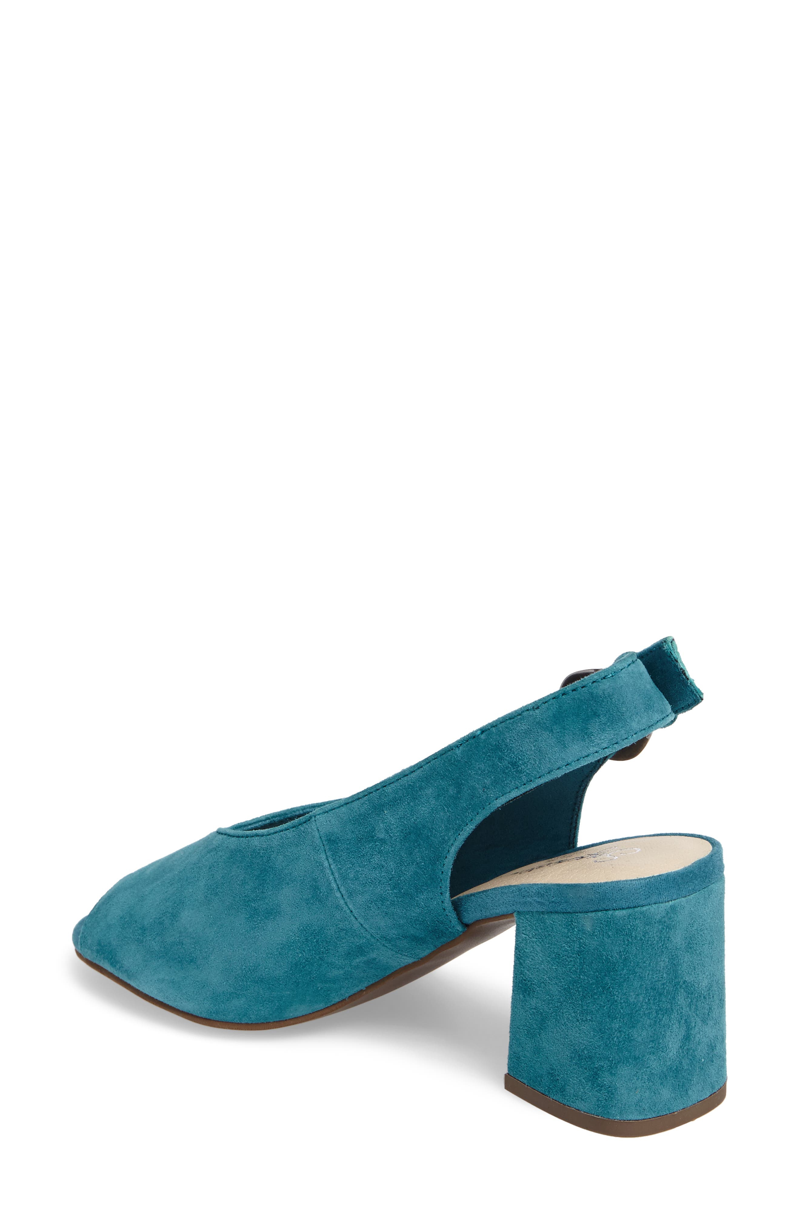 Playwright Slingback Sandal,                             Alternate thumbnail 2, color,                             TEAL SUEDE