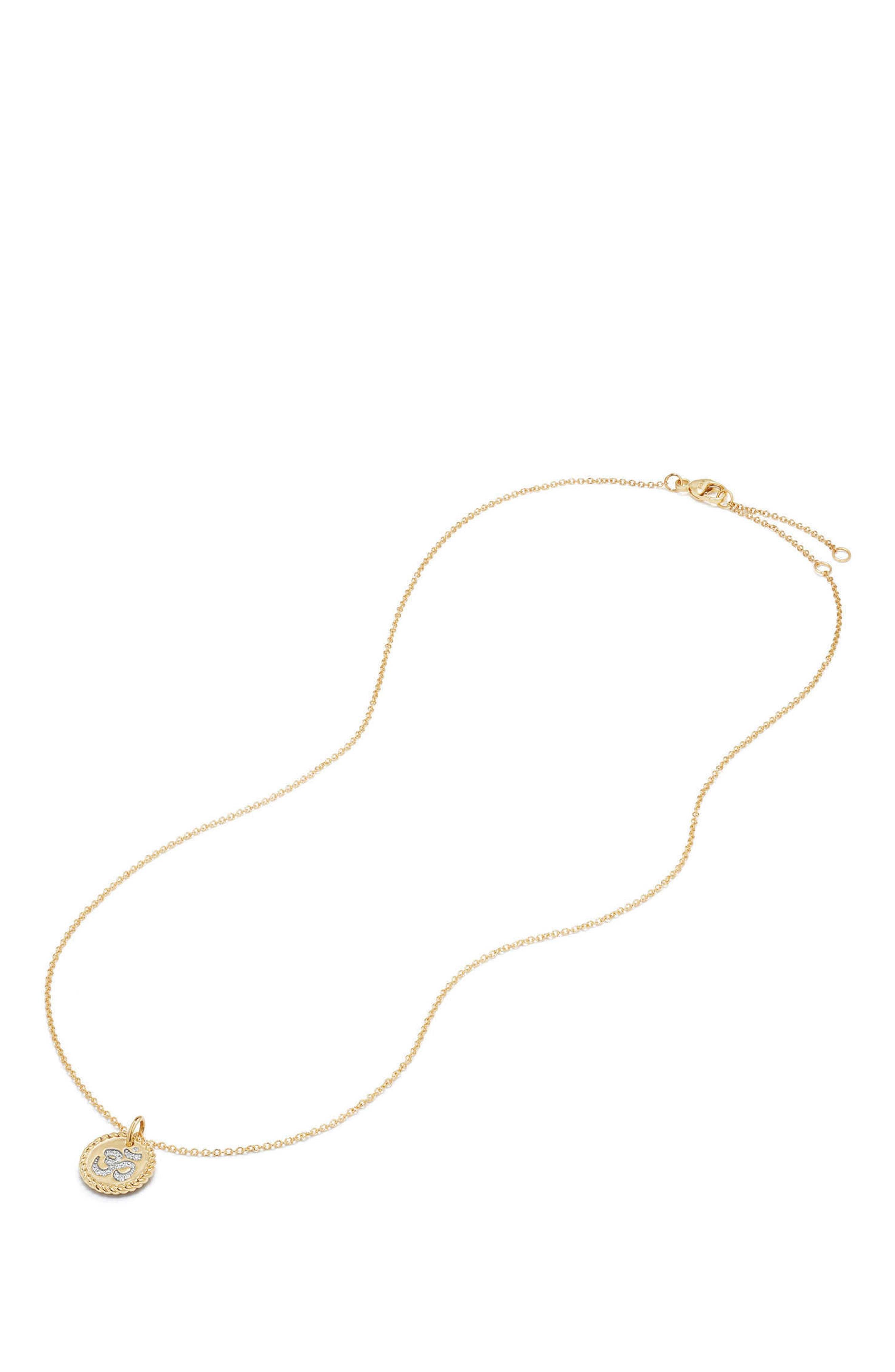 Cable Collectibles Om Necklace with Diamonds in 18K Gold,                             Alternate thumbnail 2, color,                             GOLD/ DIAMOND