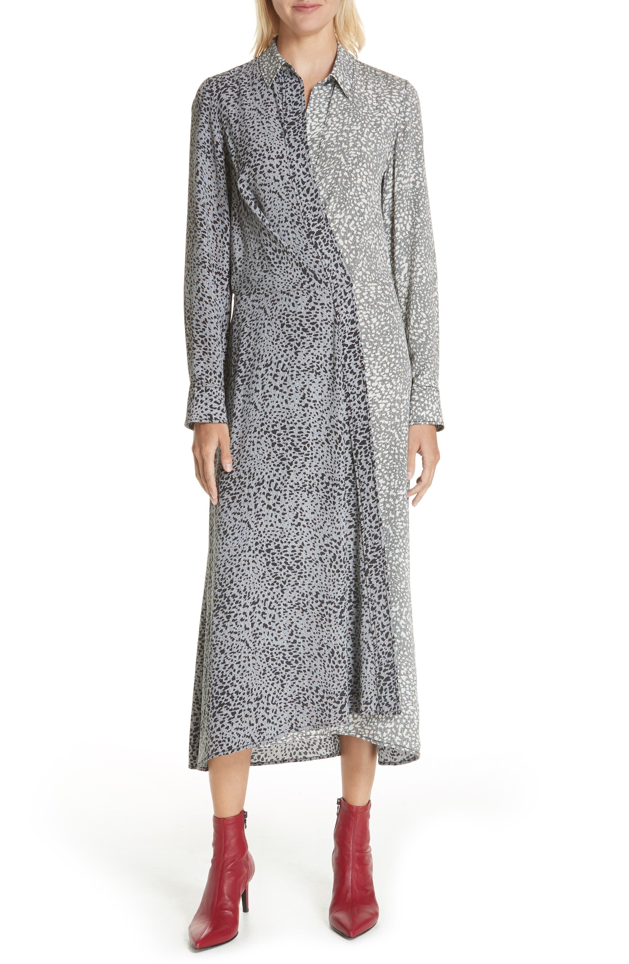 Karen Cheetah Print Silk Dress,                         Main,                         color, BLACK MULTI