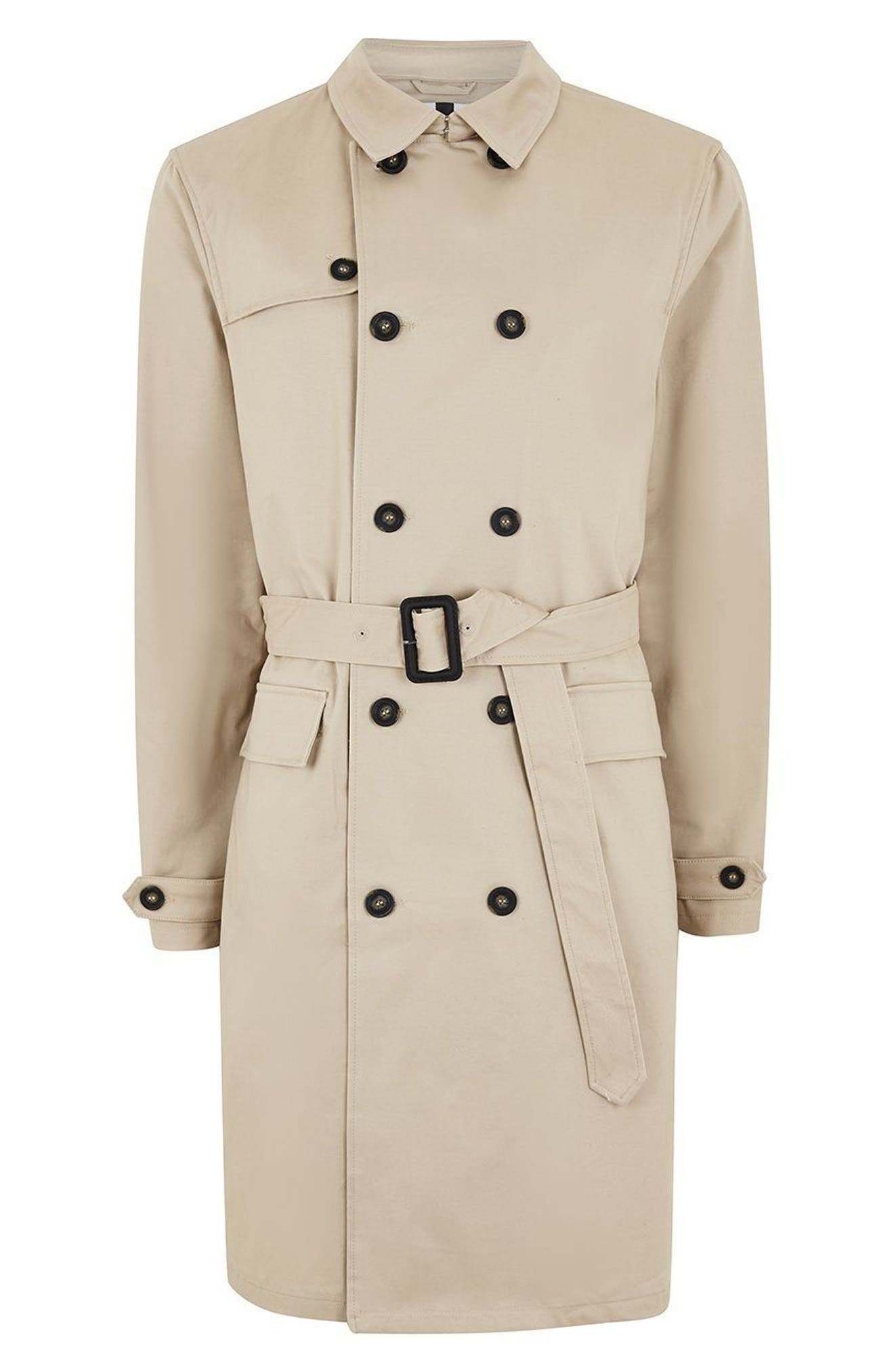 Peached Trench Coat,                             Alternate thumbnail 6, color,                             STONE