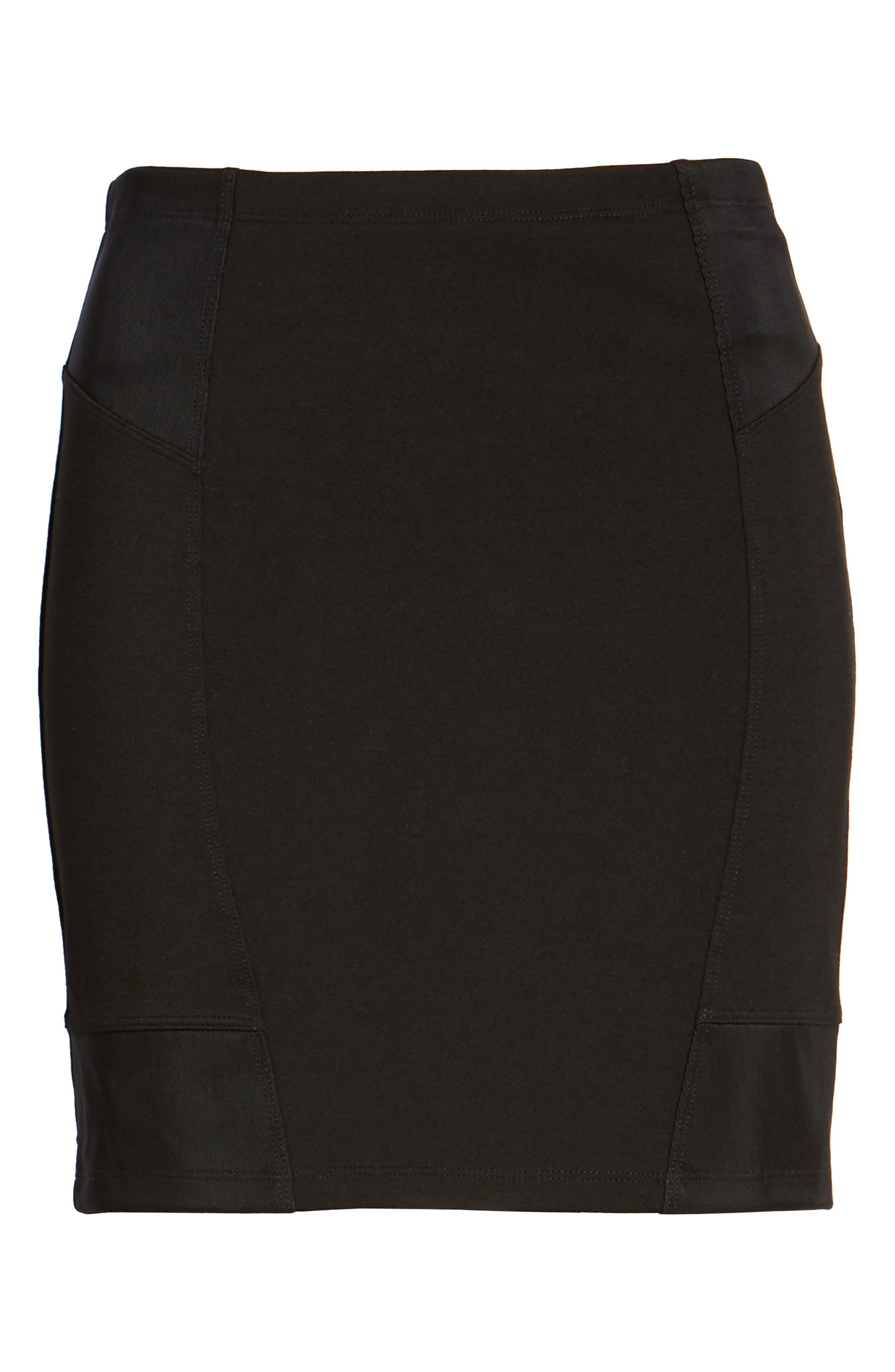 Ribbed Miniskirt,                             Alternate thumbnail 6, color,                             001