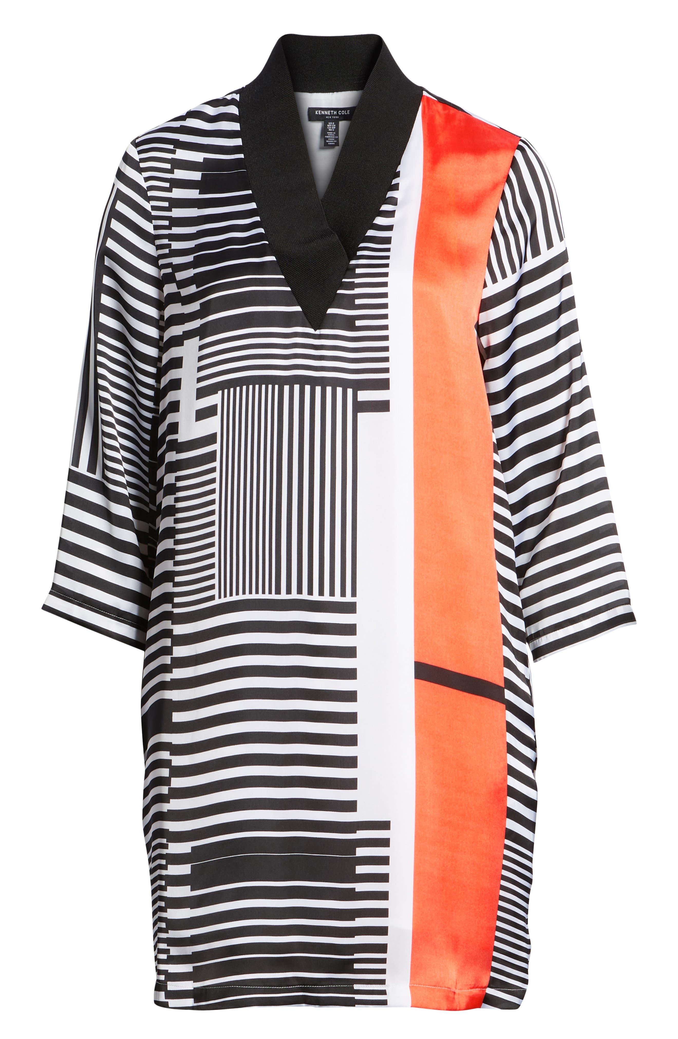 Mix Stripe V-Neck Shift Dress,                             Alternate thumbnail 8, color,                             800
