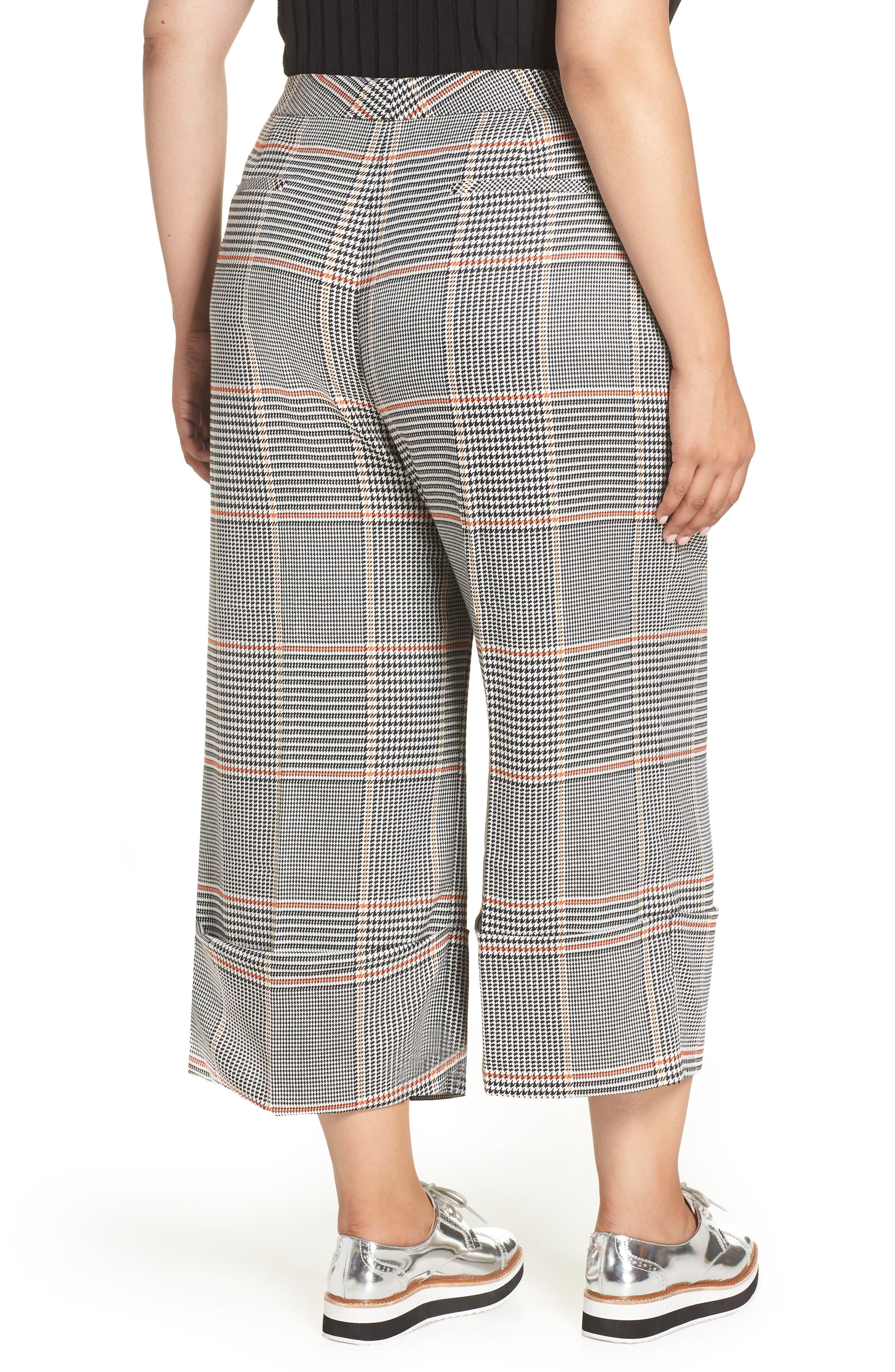 x Atlantic-Pacific Plaid Wide Leg Crop Pants,                             Alternate thumbnail 2, color,                             BLACK PLAID