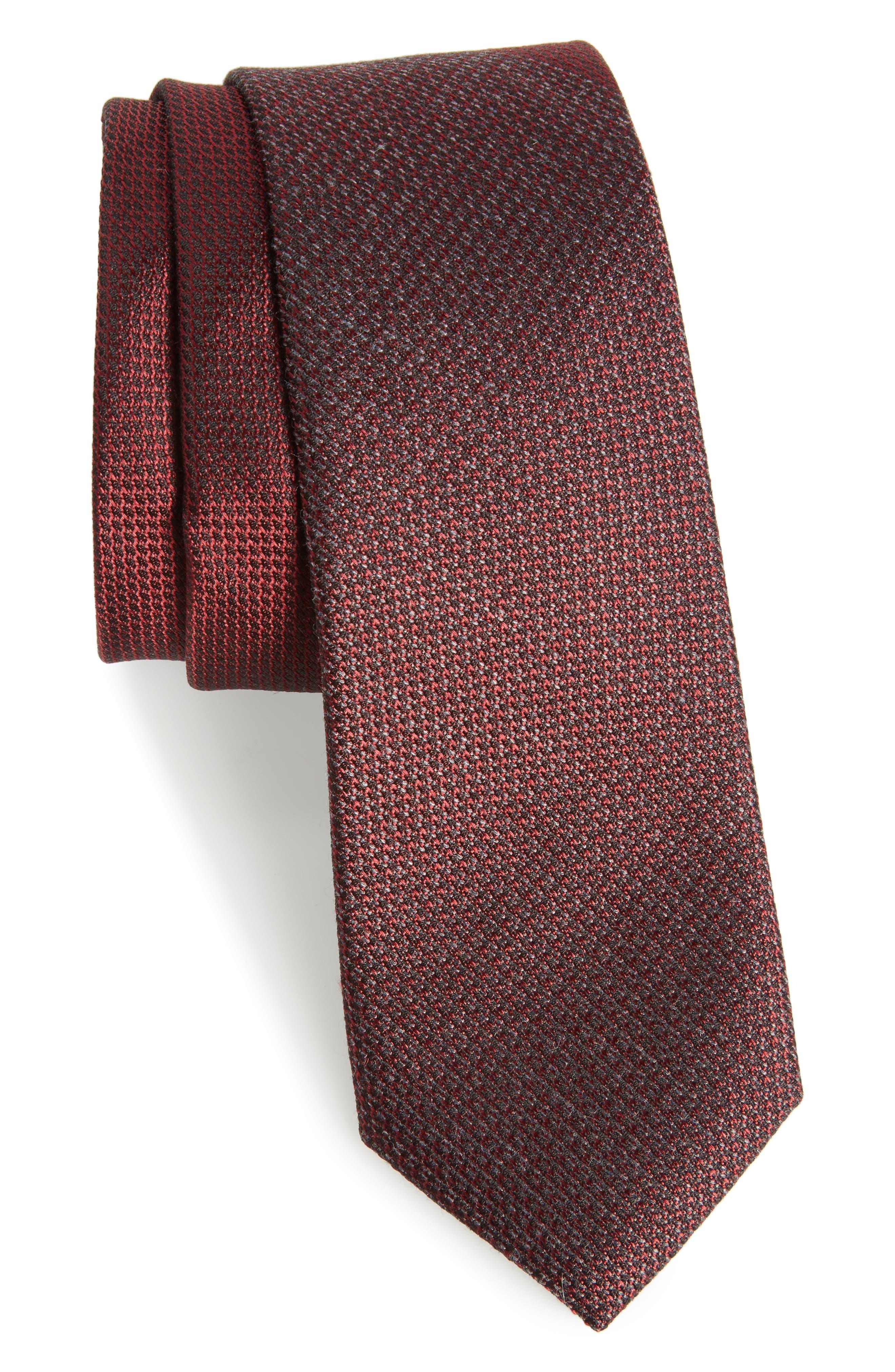 Kenton Textured Silk Blend Skinny Tie,                             Main thumbnail 5, color,