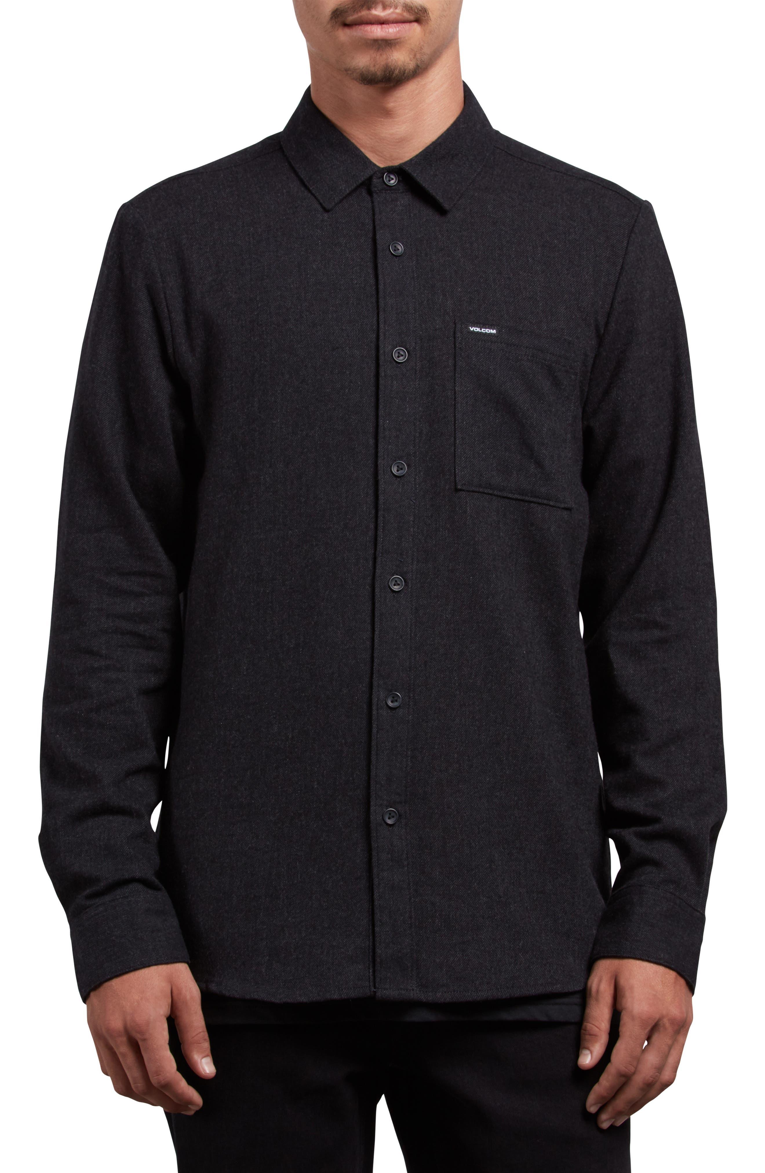 Caden Woven Shirt,                         Main,                         color, BLACK