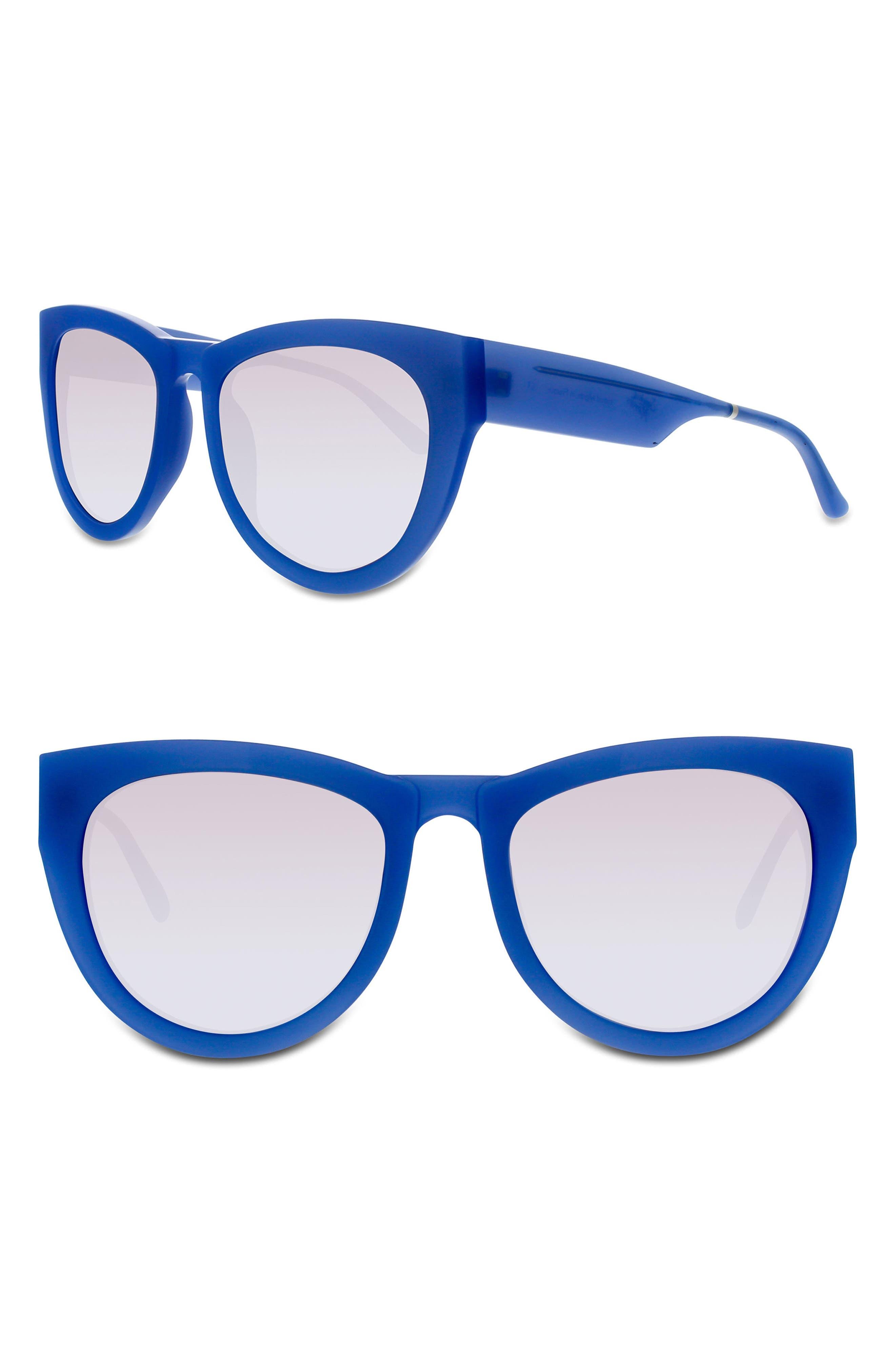 Runaround Sue 60mm Cat Eye Sunglasses,                             Main thumbnail 1, color,                             BLUE BRIGHT/ SILVER MIRROR