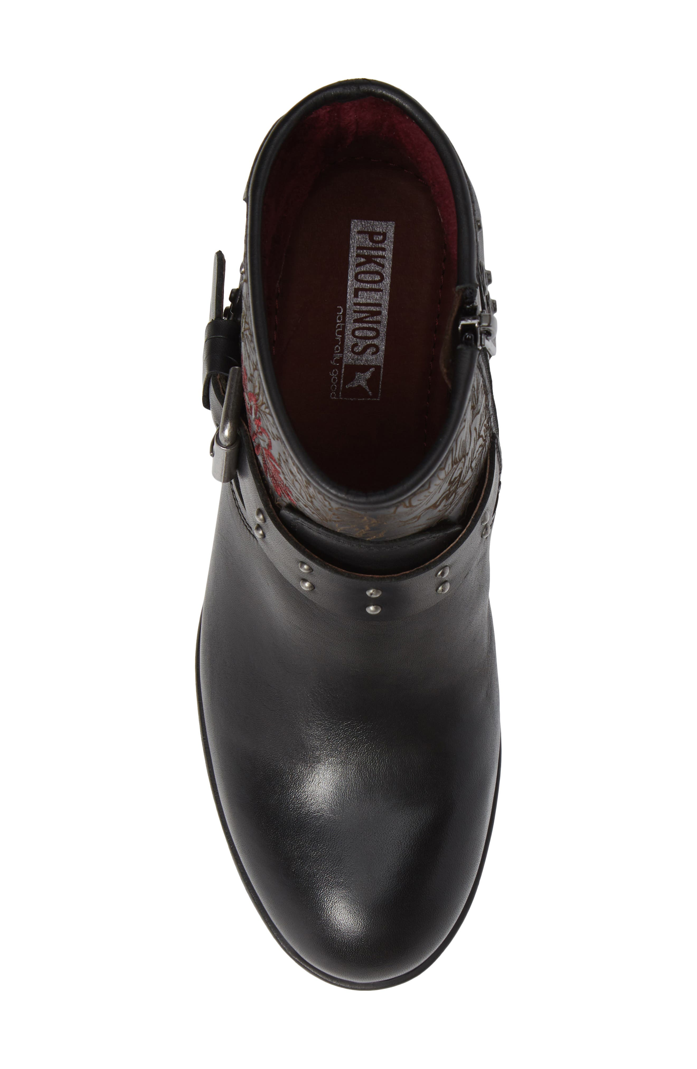 Lyon Embroidered Engineer Bootie,                             Alternate thumbnail 5, color,                             BLACK LEATHER