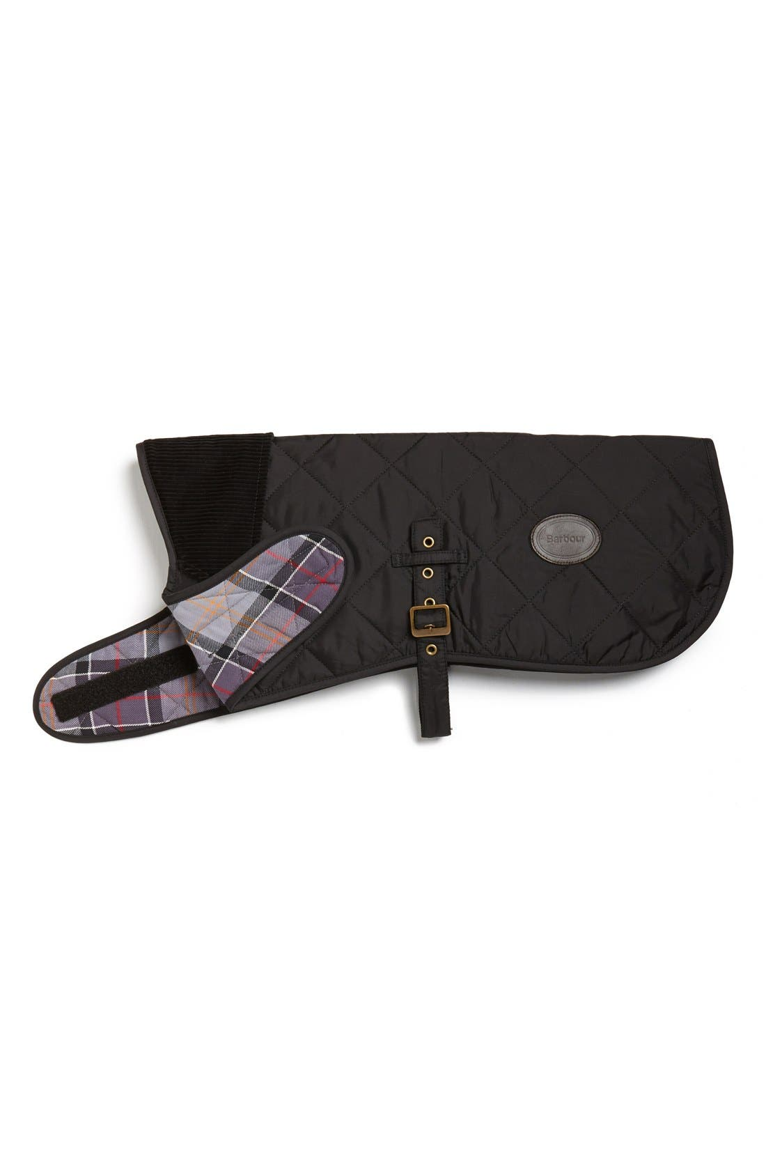 BARBOUR,                             Quilted Tartan Dog Coat,                             Main thumbnail 1, color,                             001