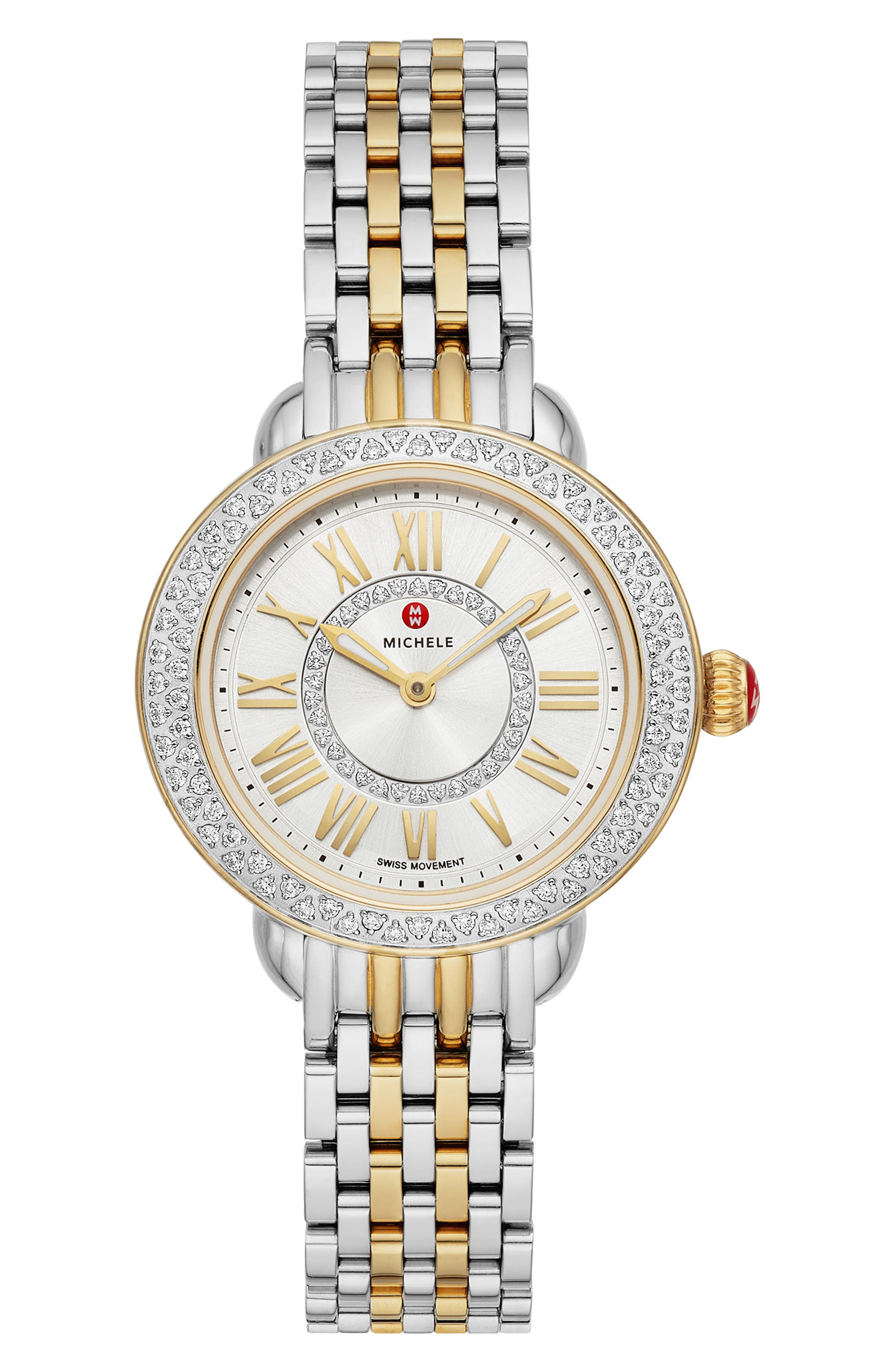 MICHELE,                             Serein Mini Diamond Watch Head & Bracelet, 28mm,                             Main thumbnail 1, color,                             SILVER/ GOLD