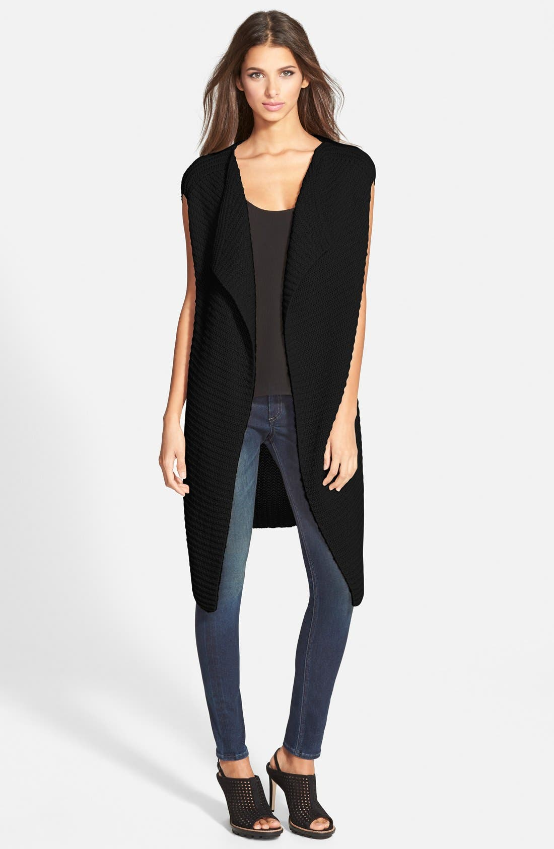 Ribbed Open Front Vest,                             Main thumbnail 1, color,                             001