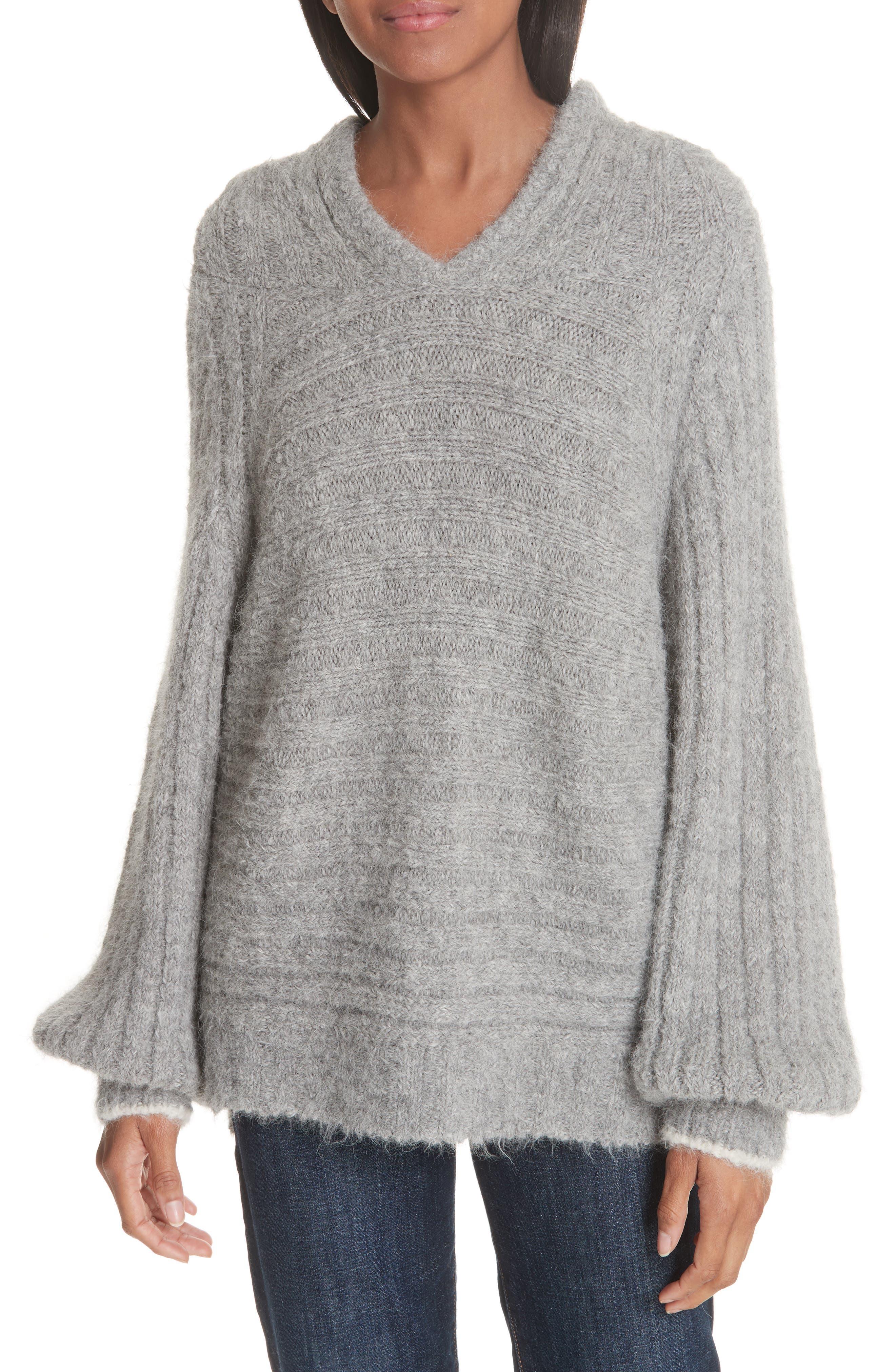 Haley Alpaca Blend Hoody Sweater in Grey Melange