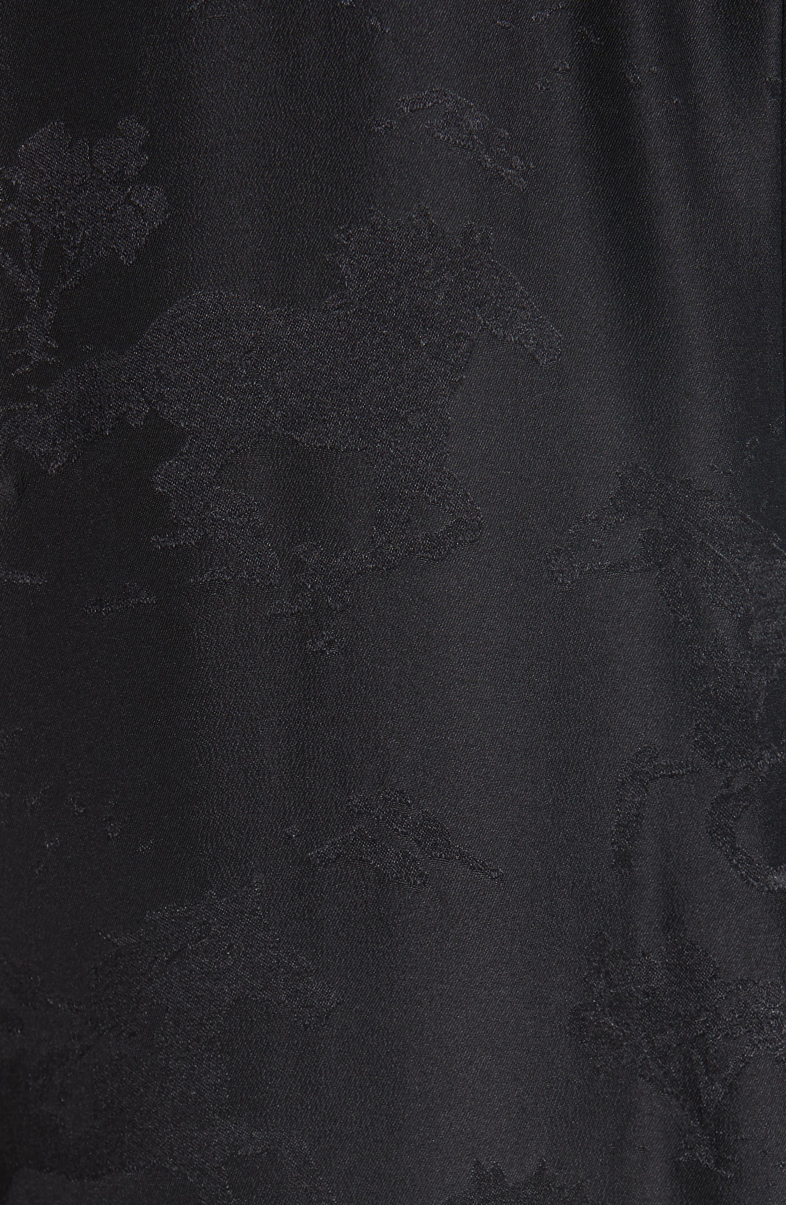Silk Jacquard Dress,                             Alternate thumbnail 6, color,                             BLACK 099