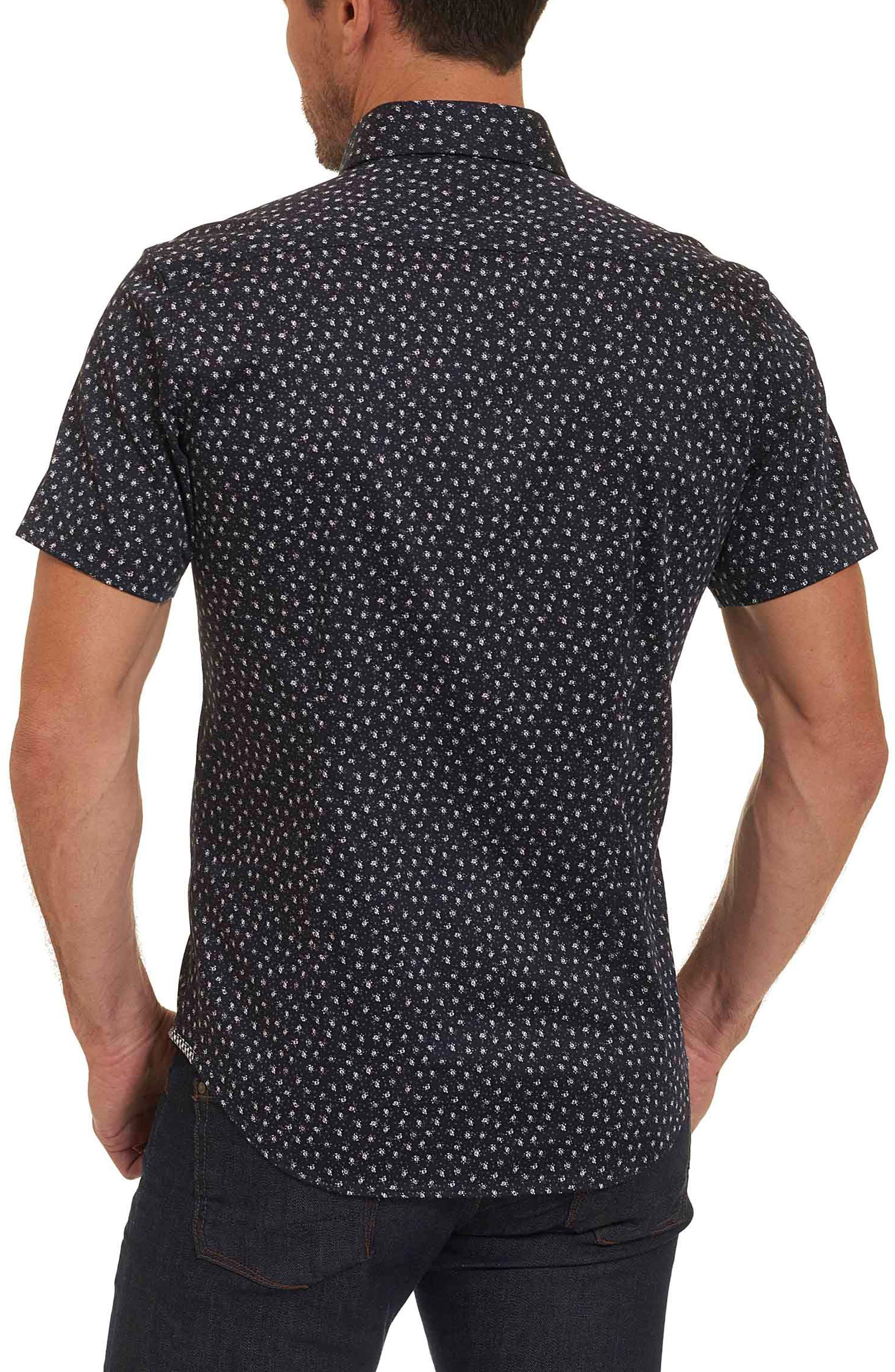 Miki Tailored Fit Print Short Sleeve Sport Shirt,                             Alternate thumbnail 2, color,                             001