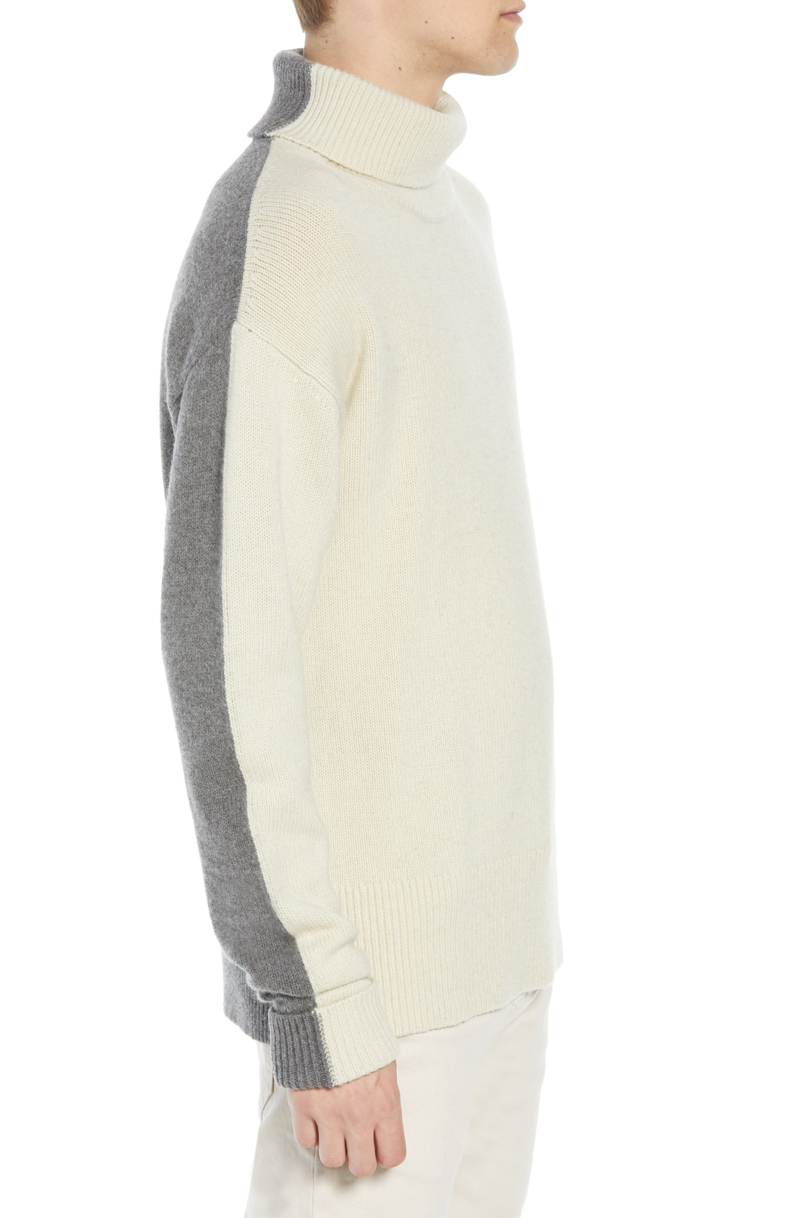 Colorblock Turtleneck Sweater,                             Alternate thumbnail 3, color,                             FOG MID GREY MELANGE