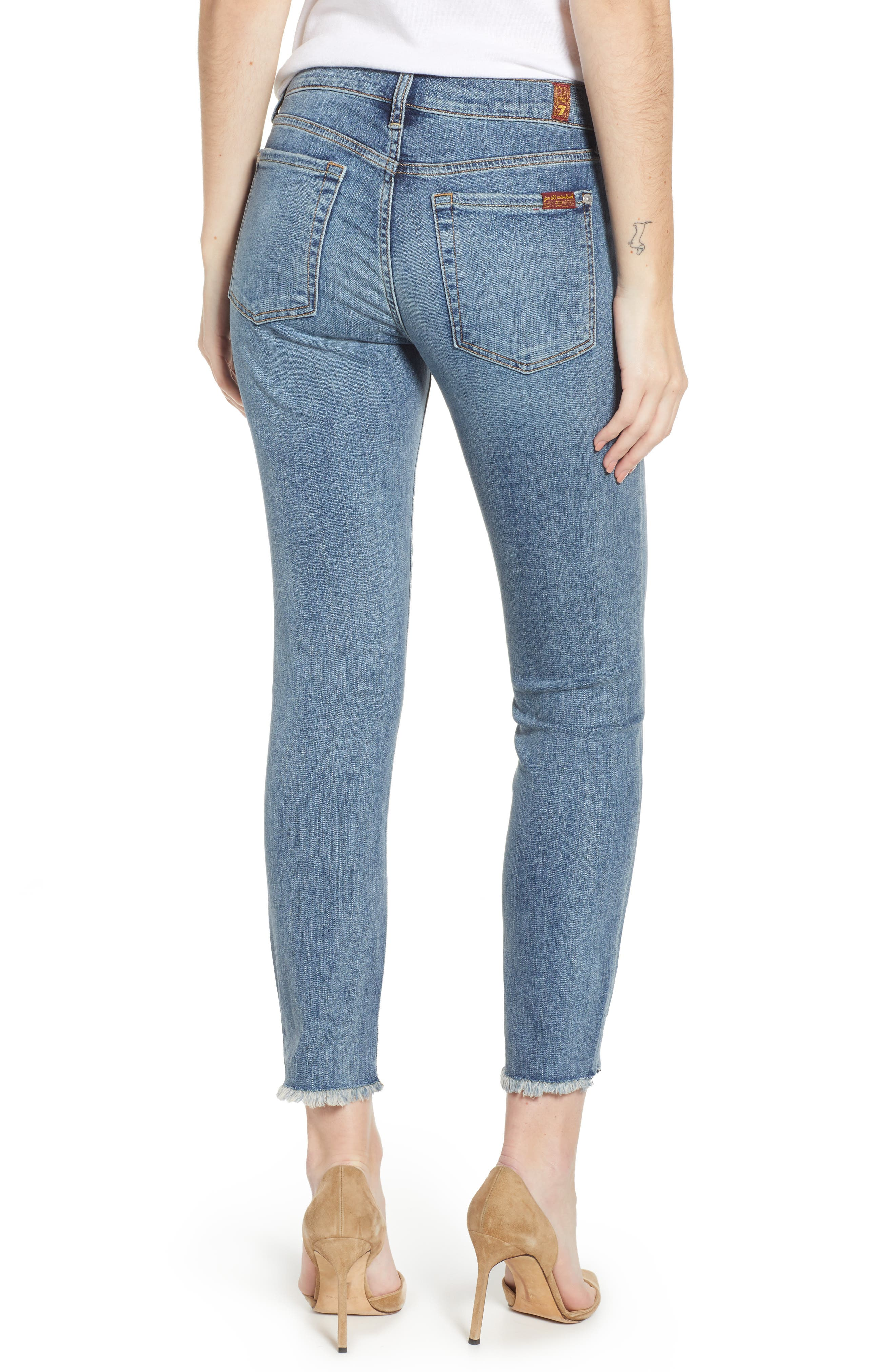 7 FOR ALL MANKIND<SUP>®</SUP>,                             b(air) Roxanne Frayed Ankle Slim Jeans,                             Alternate thumbnail 2, color,                             402
