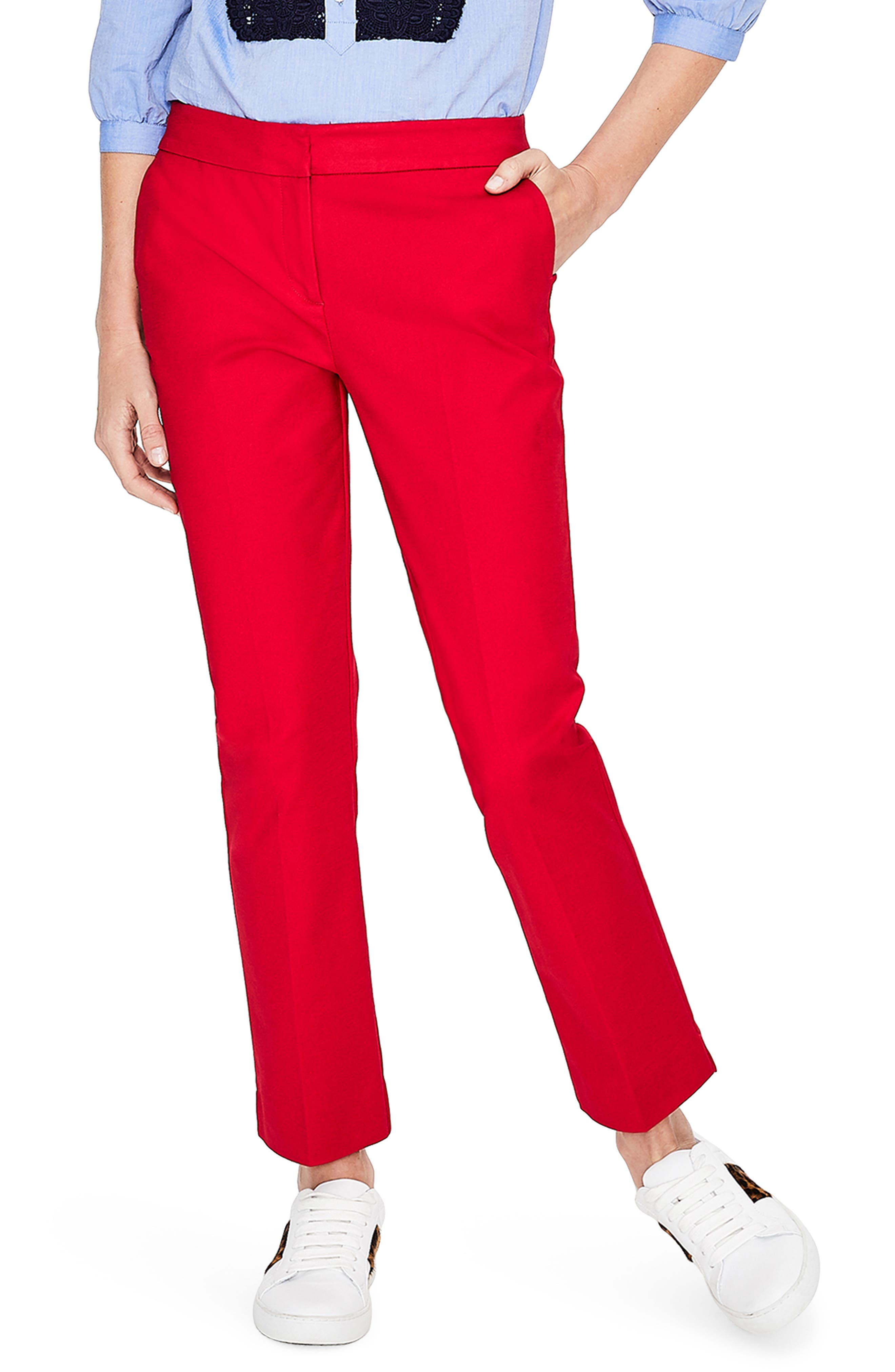 Richmond Polka Dot Stripe Contrast Ankle Pants,                         Main,                         color, POINSETTIA