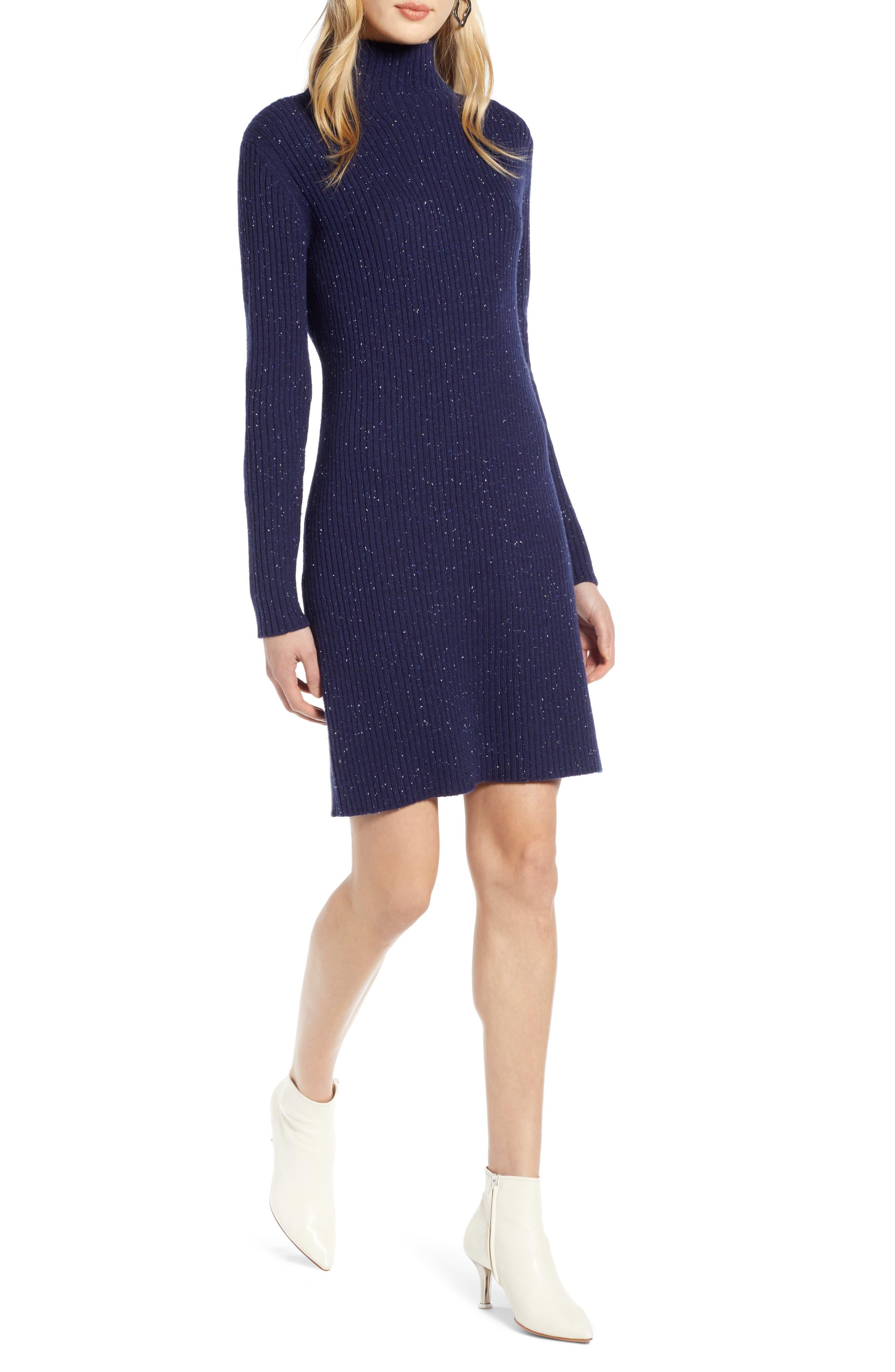 Halogen Funnel Neck Sweater Dress, Blue