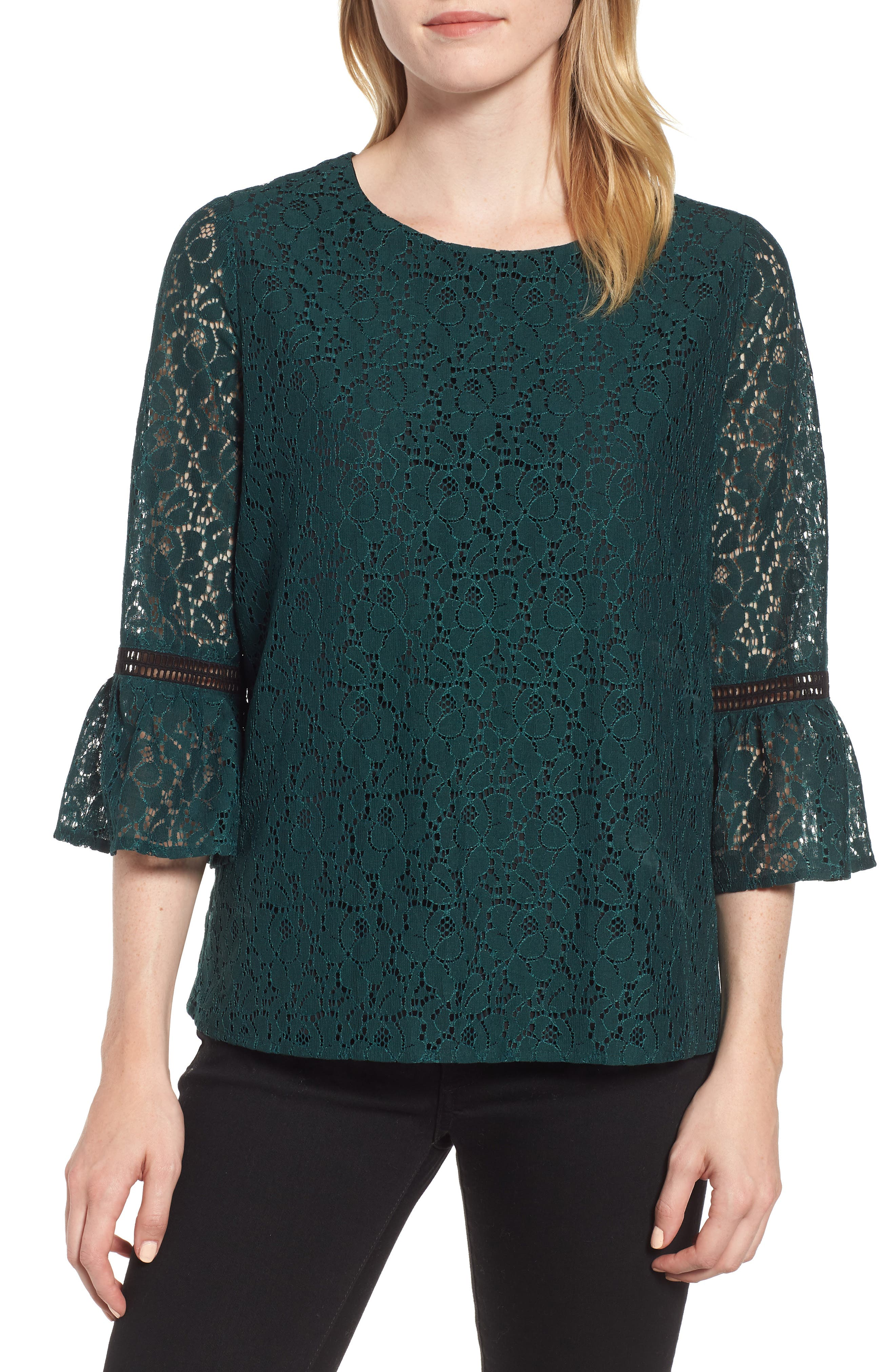 x Glam Squad Erin Allover Lace Bell Sleeve Top, Main, color, GREEN