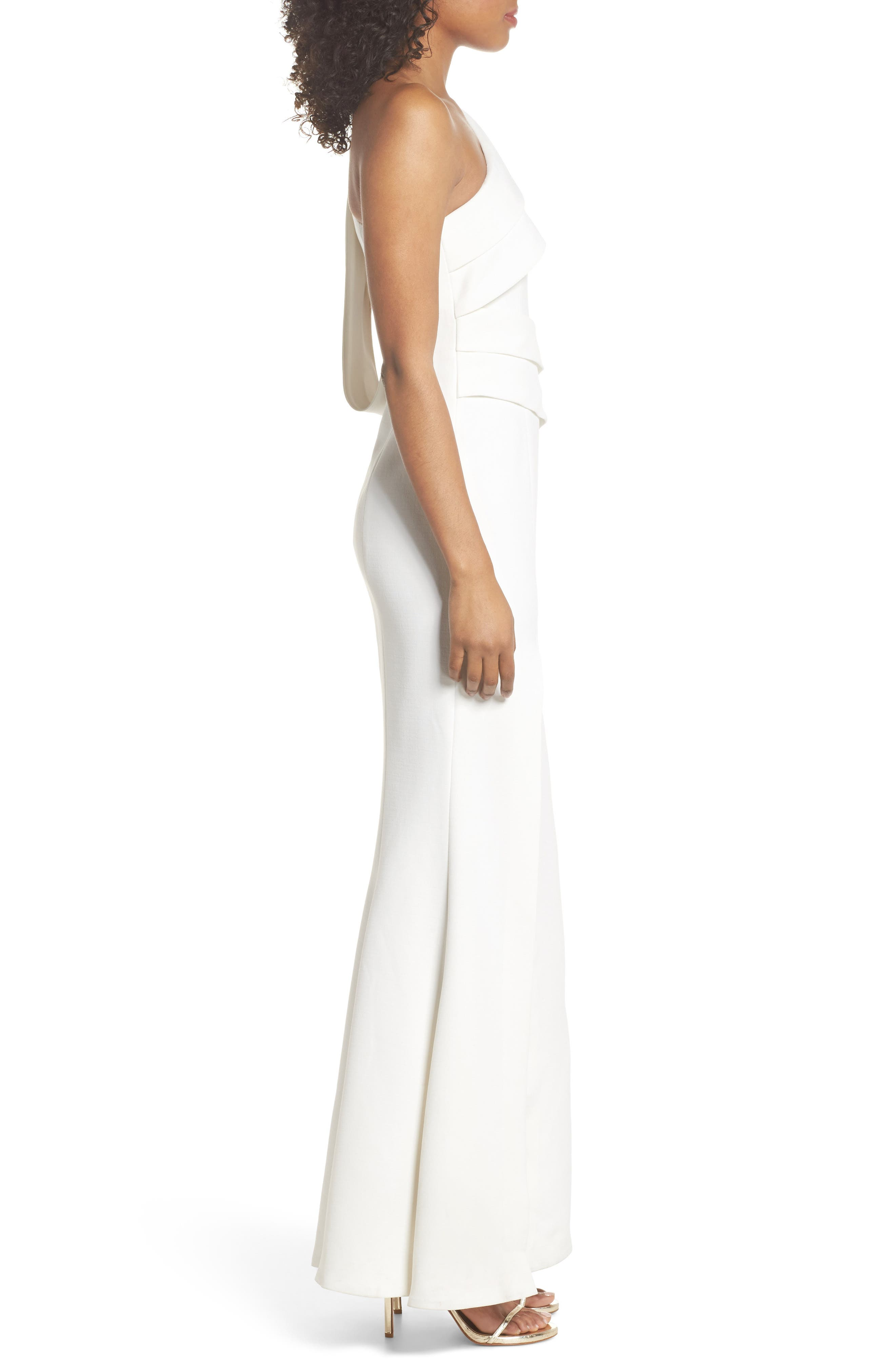 Be Moved One-Shoulder Gown,                             Alternate thumbnail 3, color,                             IVORY