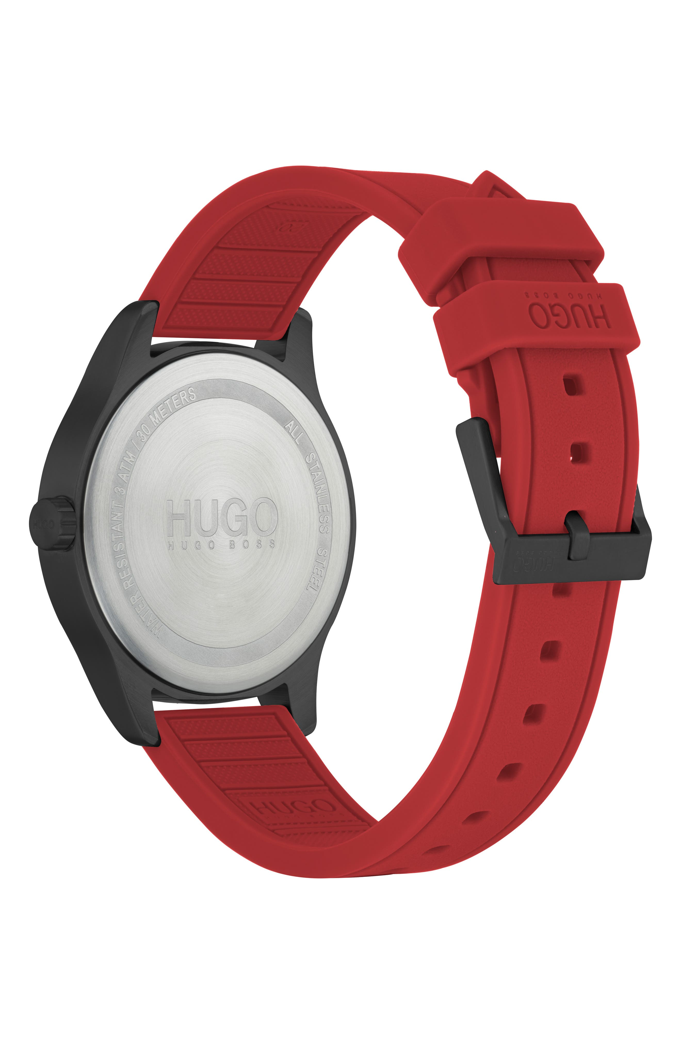 Silicone Strap Watch, 42mm,                             Alternate thumbnail 2, color,                             BLACK