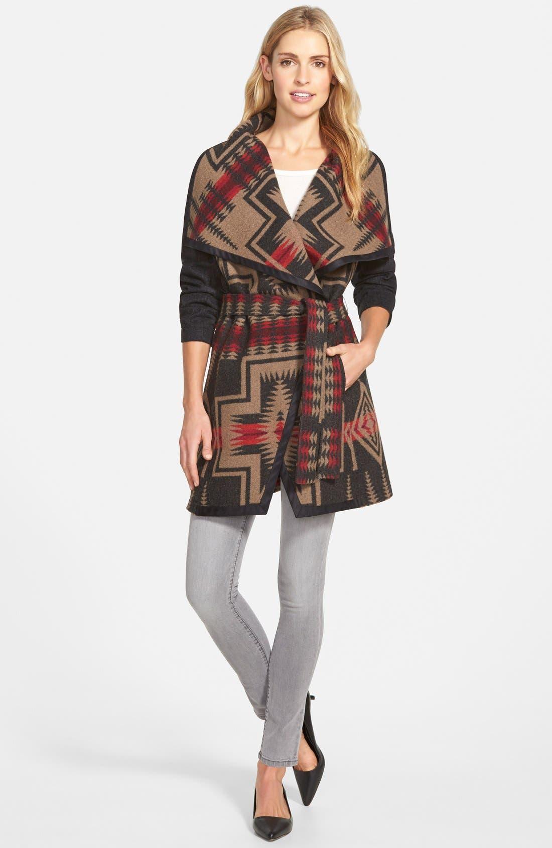 PENDLETON,                             Jacquard Wool Blanket Wrap Coat,                             Alternate thumbnail 4, color,                             035