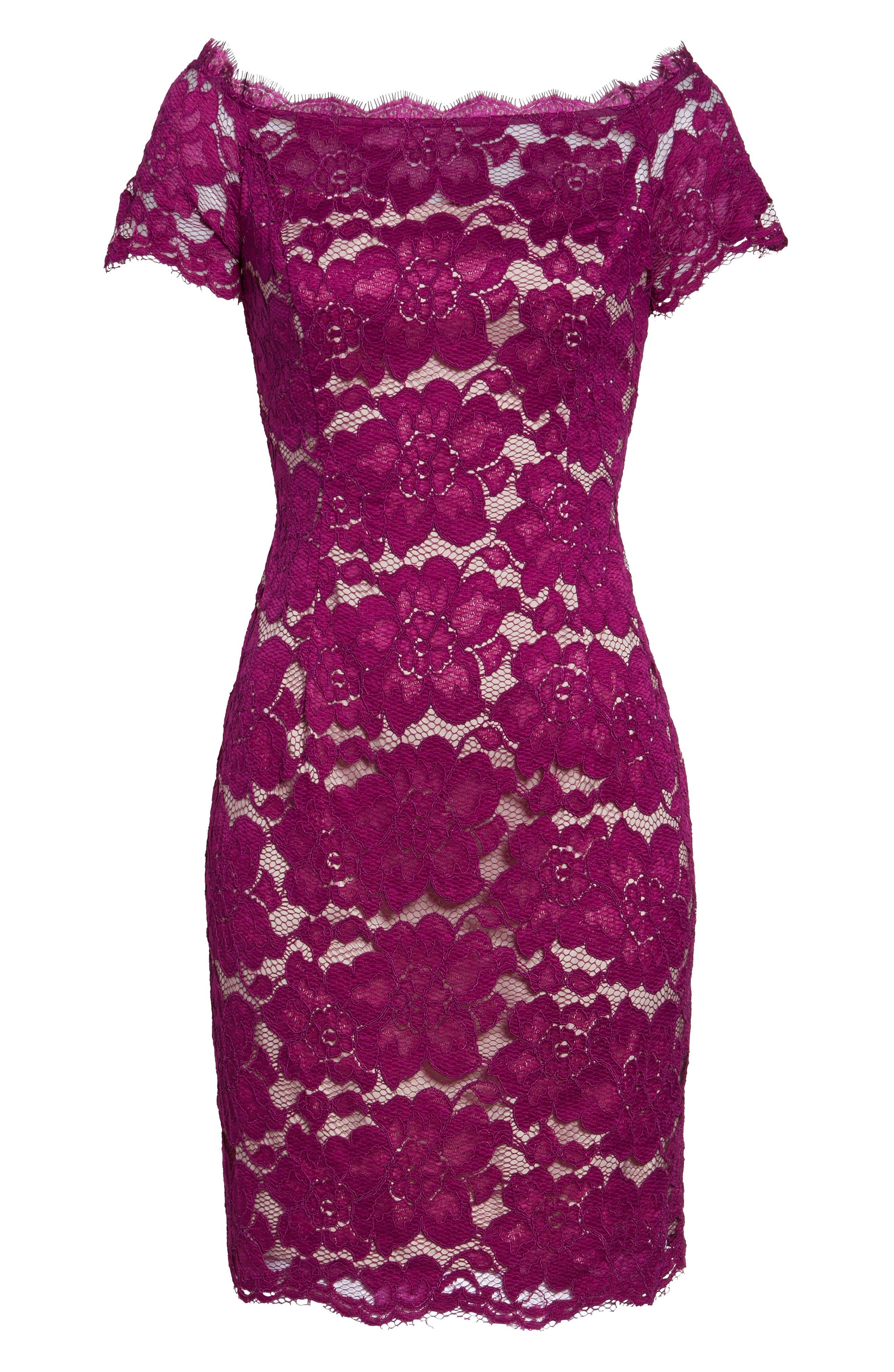 Off the Shoulder Lace Sheath Dress,                             Alternate thumbnail 34, color,
