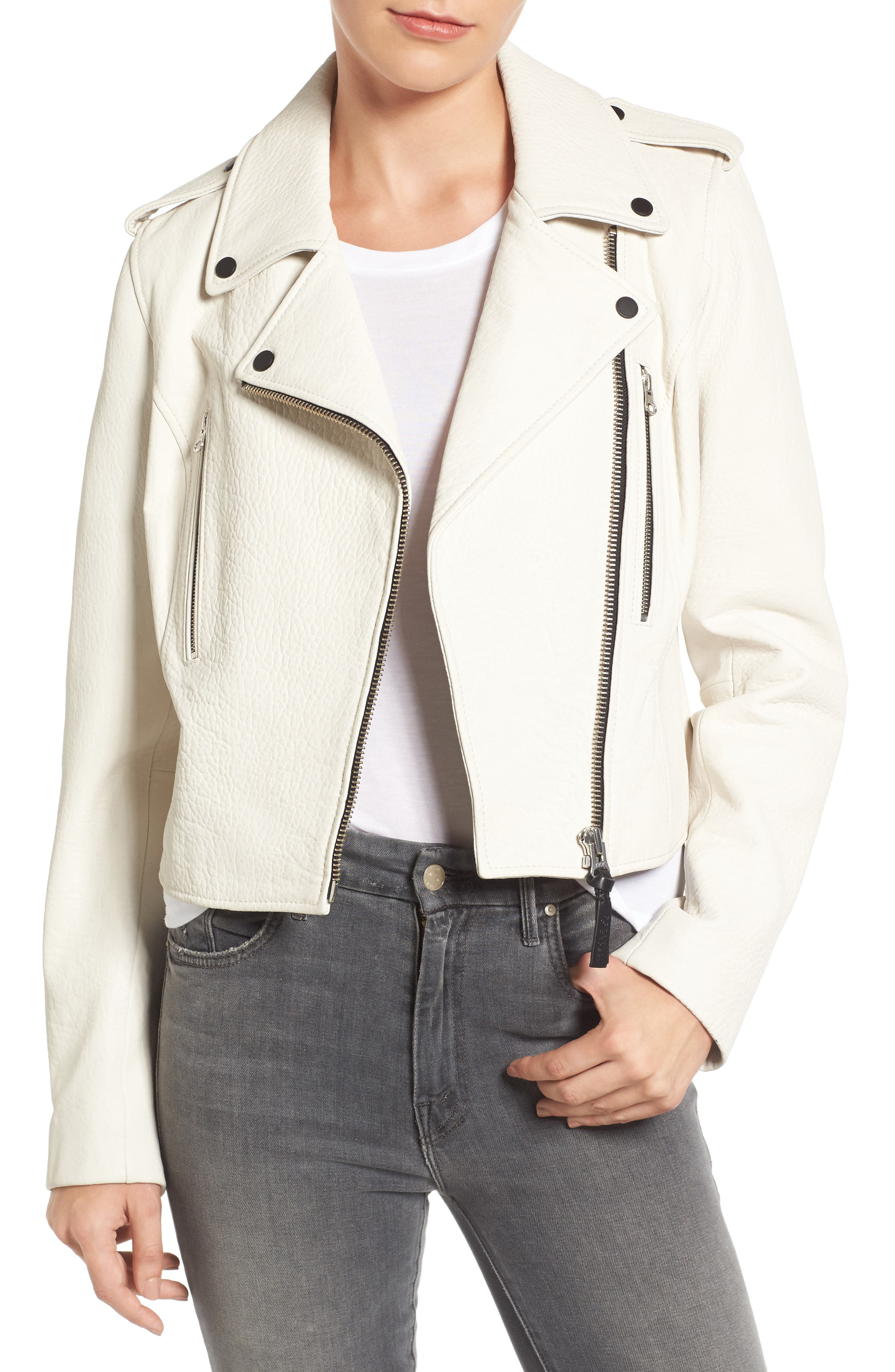 Leather Moto Jacket,                         Main,                         color, 101