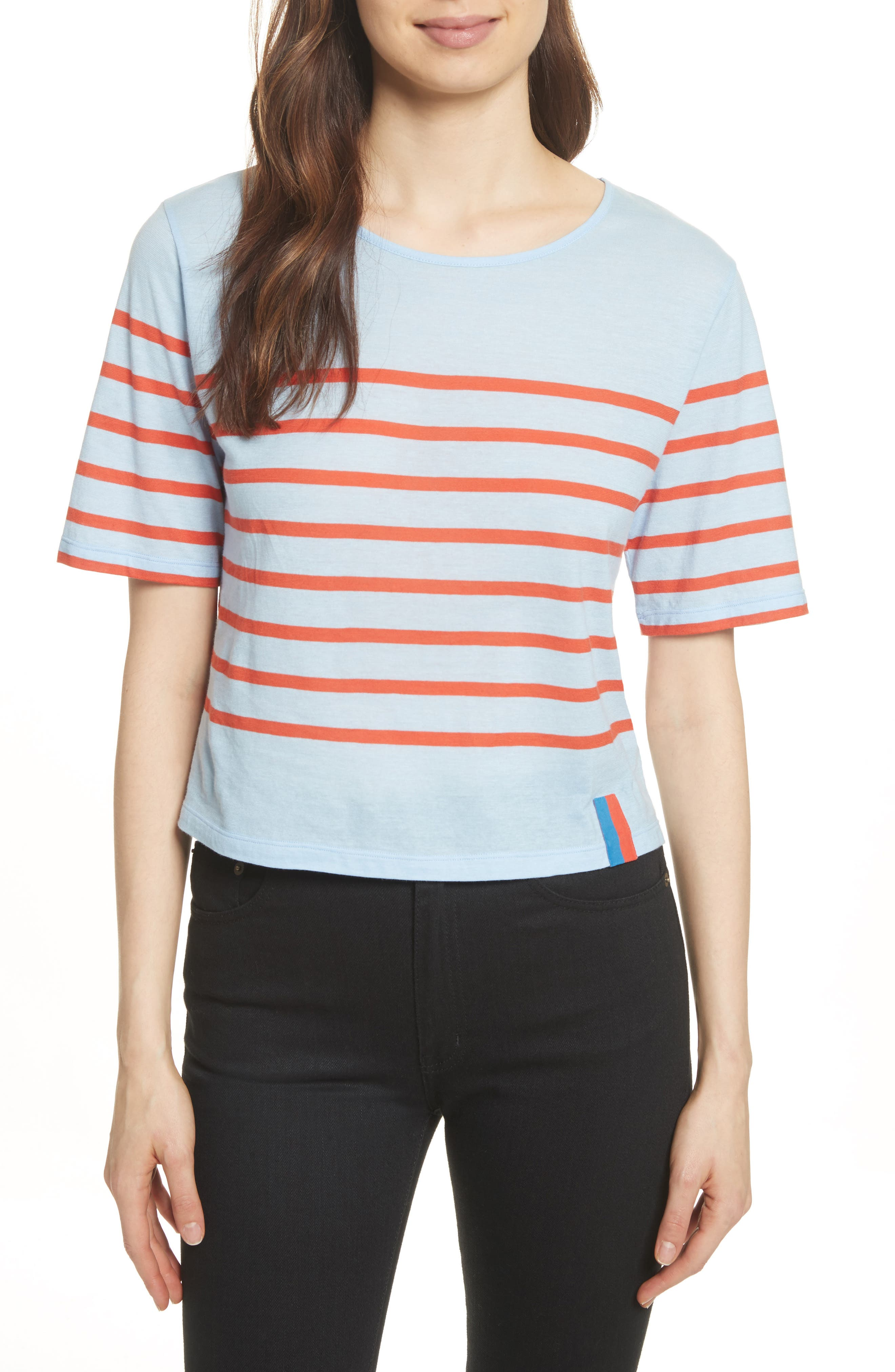 The Crop Stripe Tee,                             Main thumbnail 1, color,                             450
