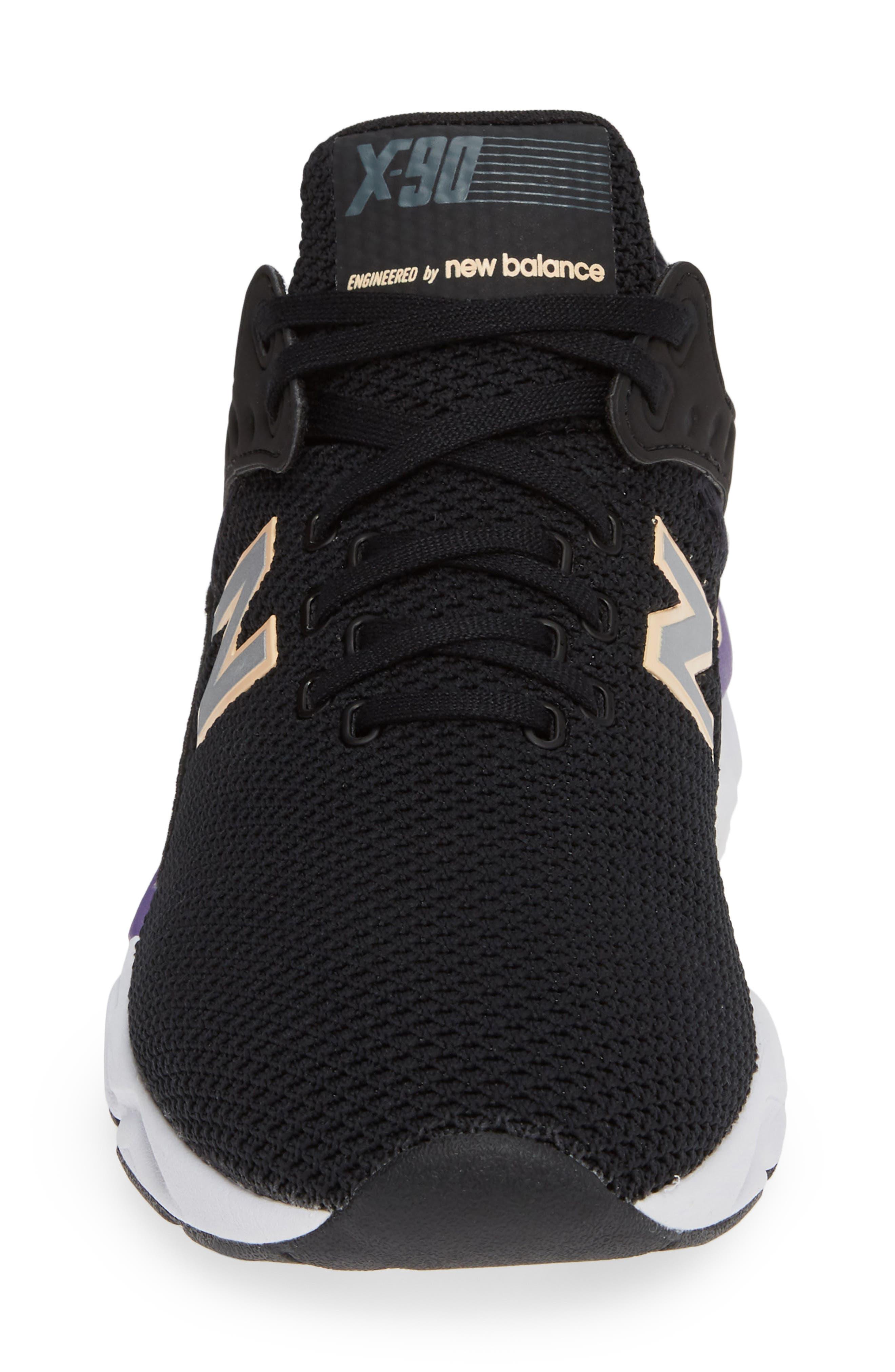 X-90 Knit Sneaker,                             Alternate thumbnail 4, color,                             BLACK