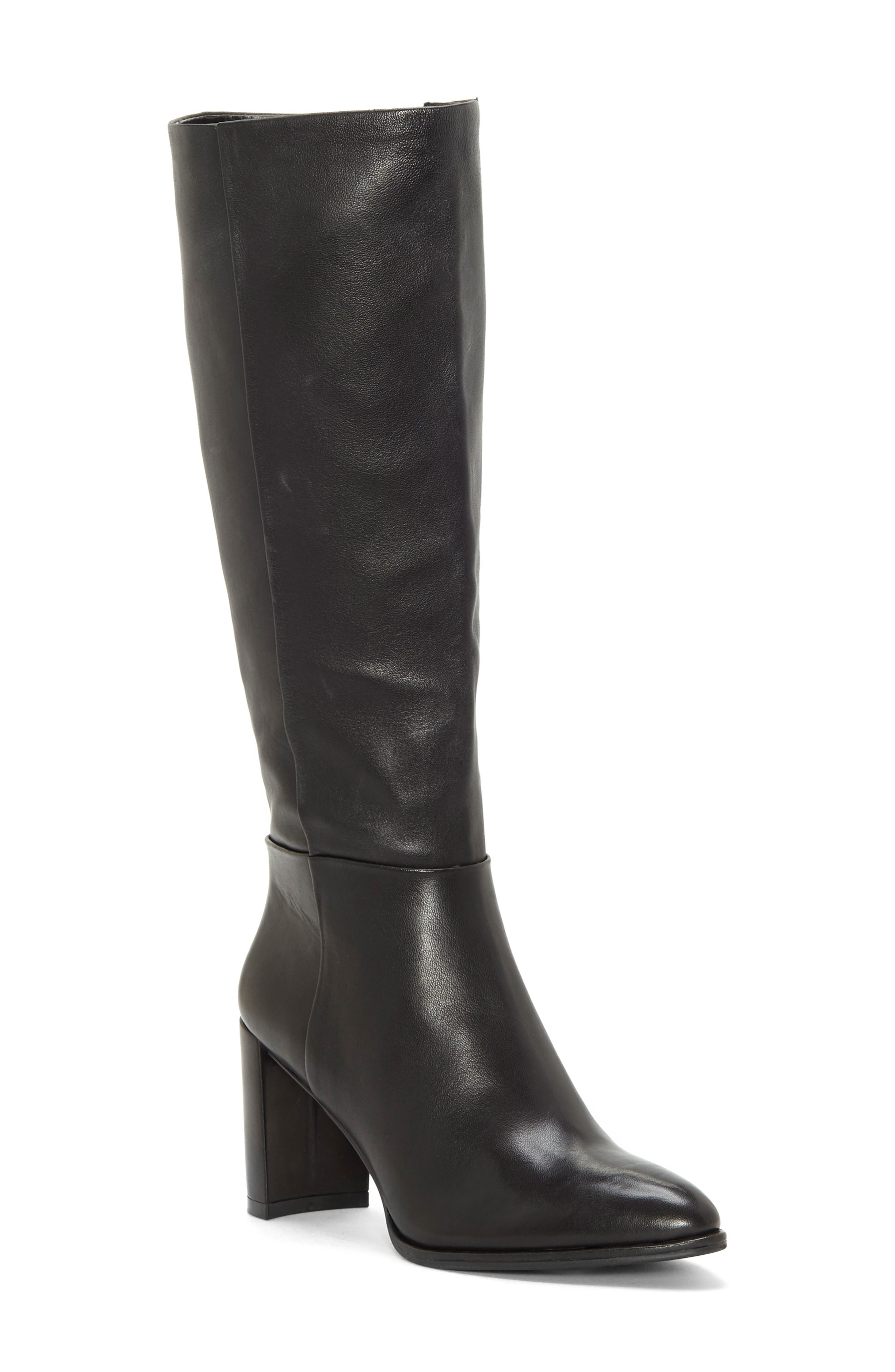 Wenda Knee High Boot, Main, color, BLACK LEATHER