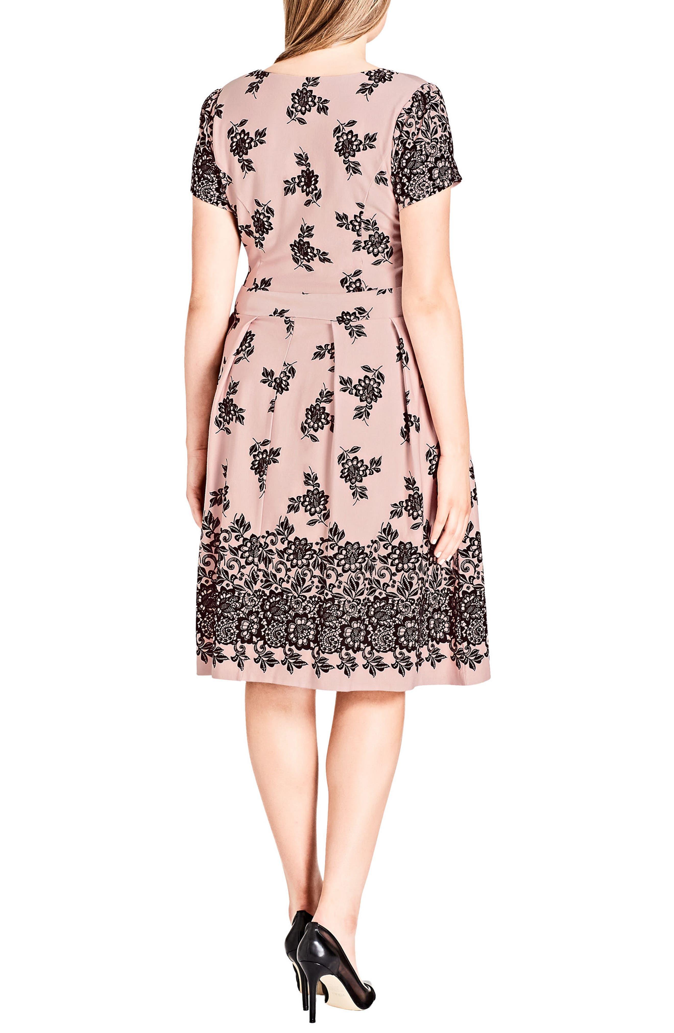 Flocked Dress,                             Alternate thumbnail 2, color,                             BALLET PINK