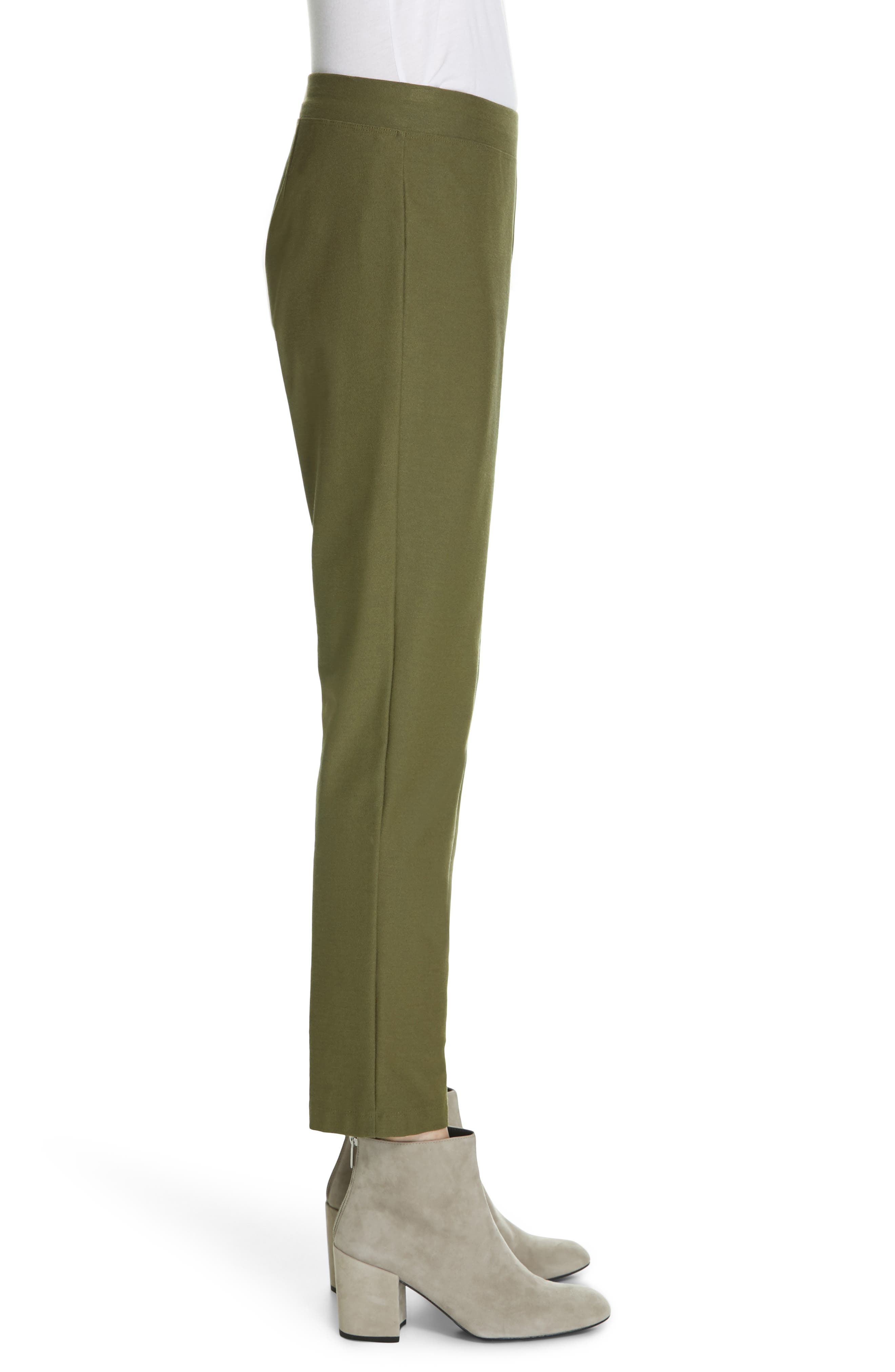 Stretch Crepe Ankle Pants,                             Alternate thumbnail 3, color,                             OLIVE