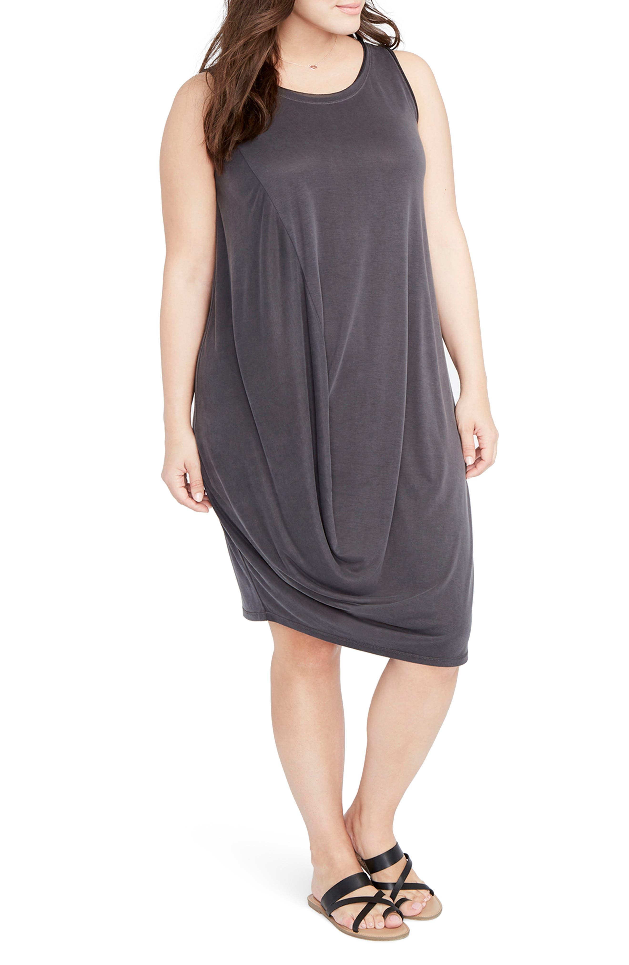 Drape Front Shift Dress,                         Main,                         color, 001