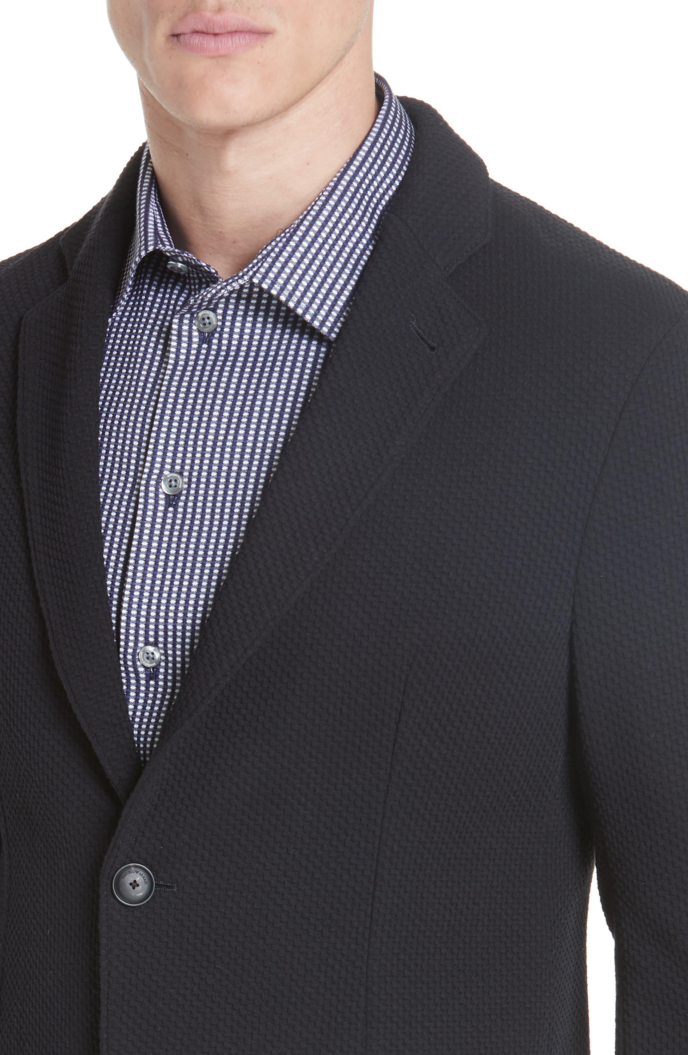 Slim Fit Stretch Cotton Blend Sport Coat,                             Alternate thumbnail 4, color,                             BLACK