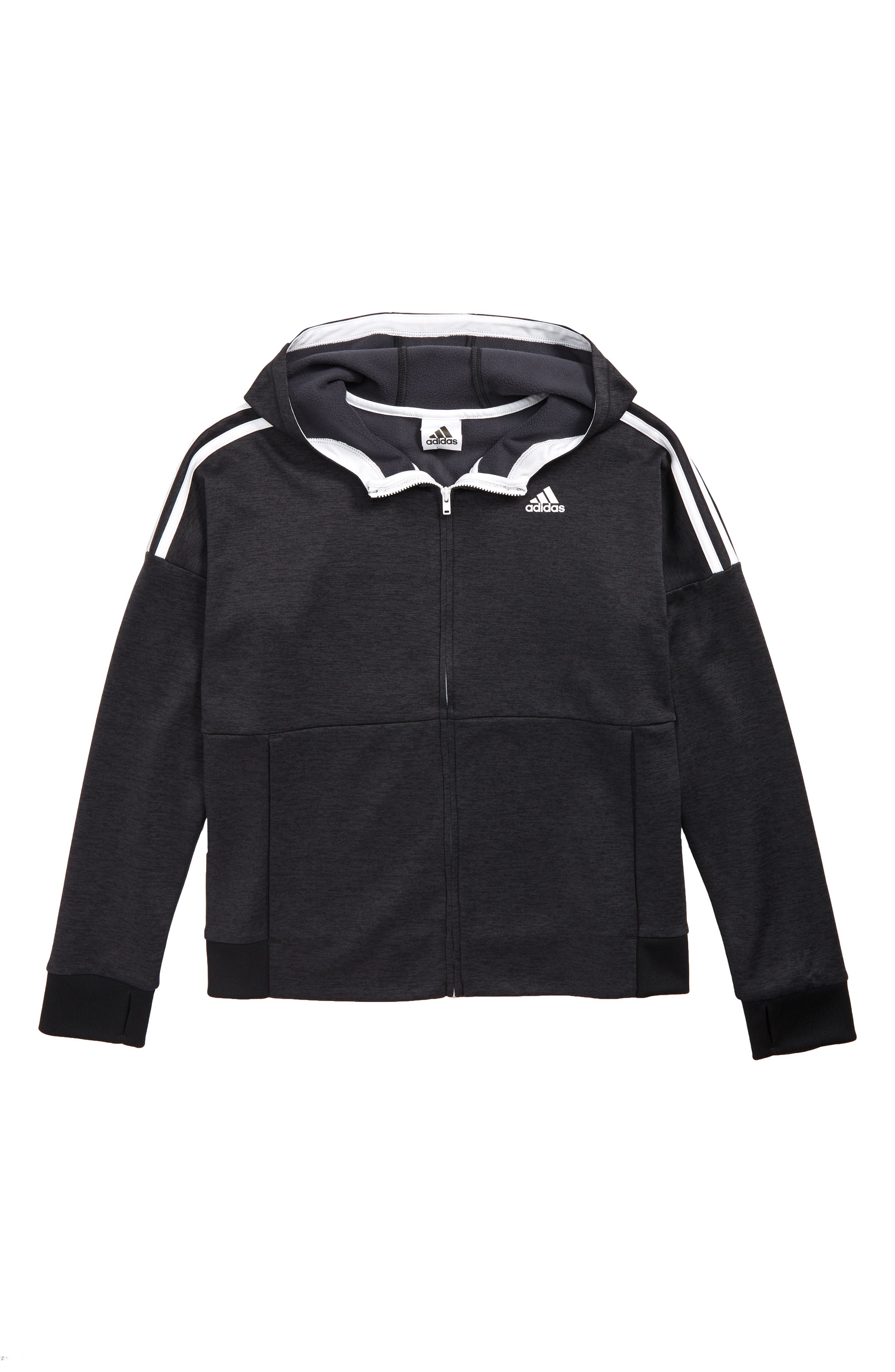ADIDAS 3-Stripes Hooded Jacket, Main, color, BLACK 095A