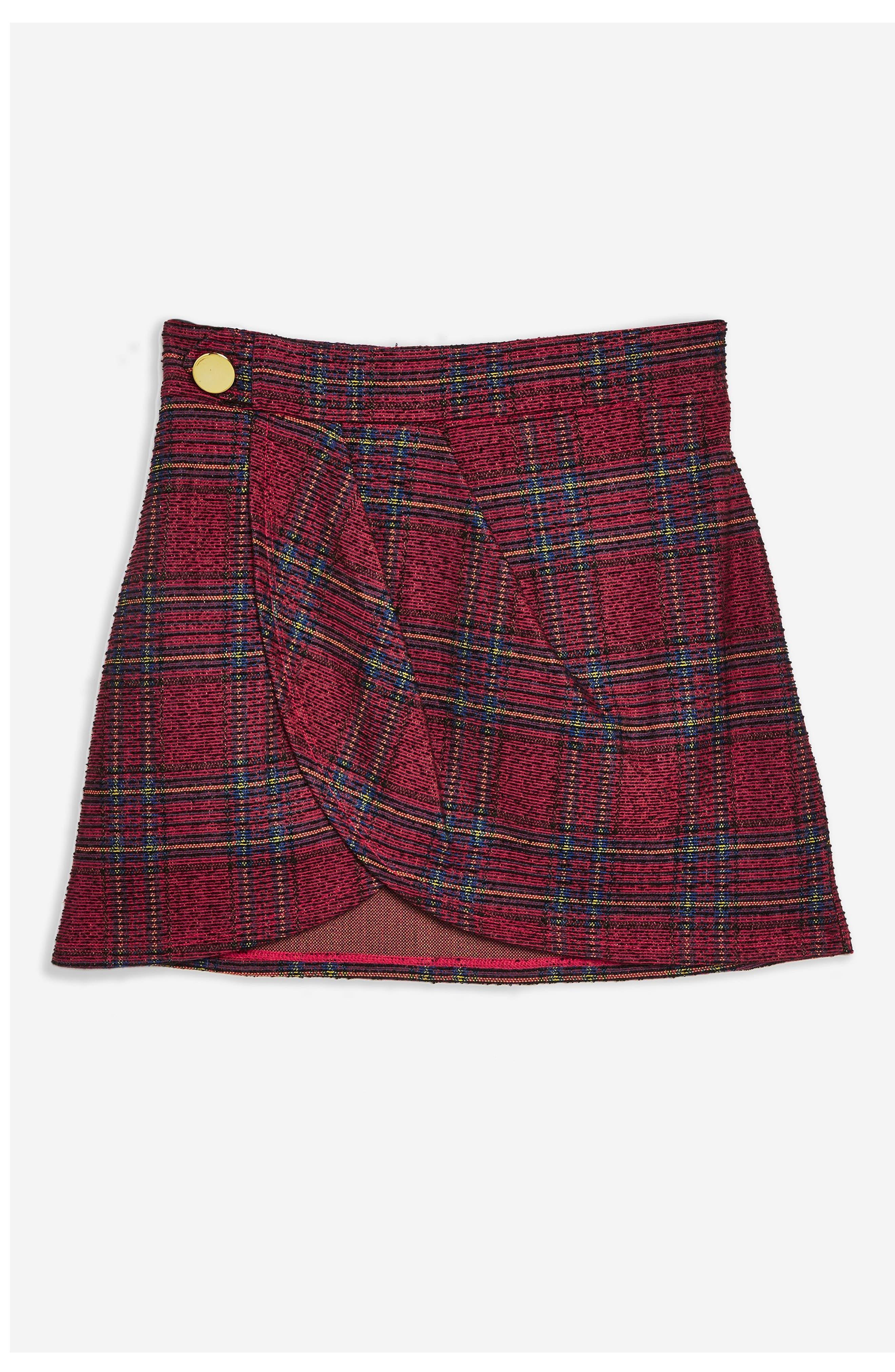 TOPSHOP,                             Tartan Bouclé Miniskirt,                             Alternate thumbnail 4, color,                             RED MULTI