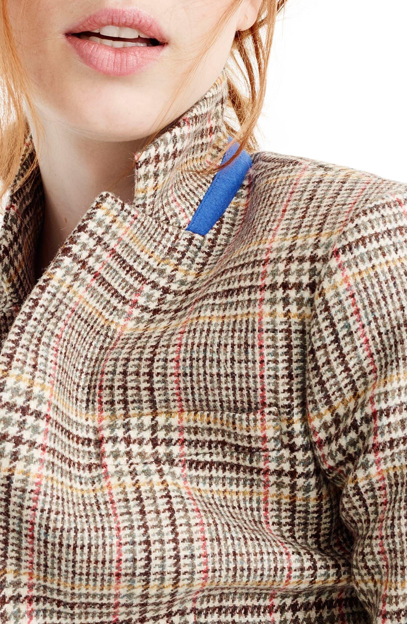 Plaid Regent Blazer with Velvet Tie,                             Alternate thumbnail 4, color,