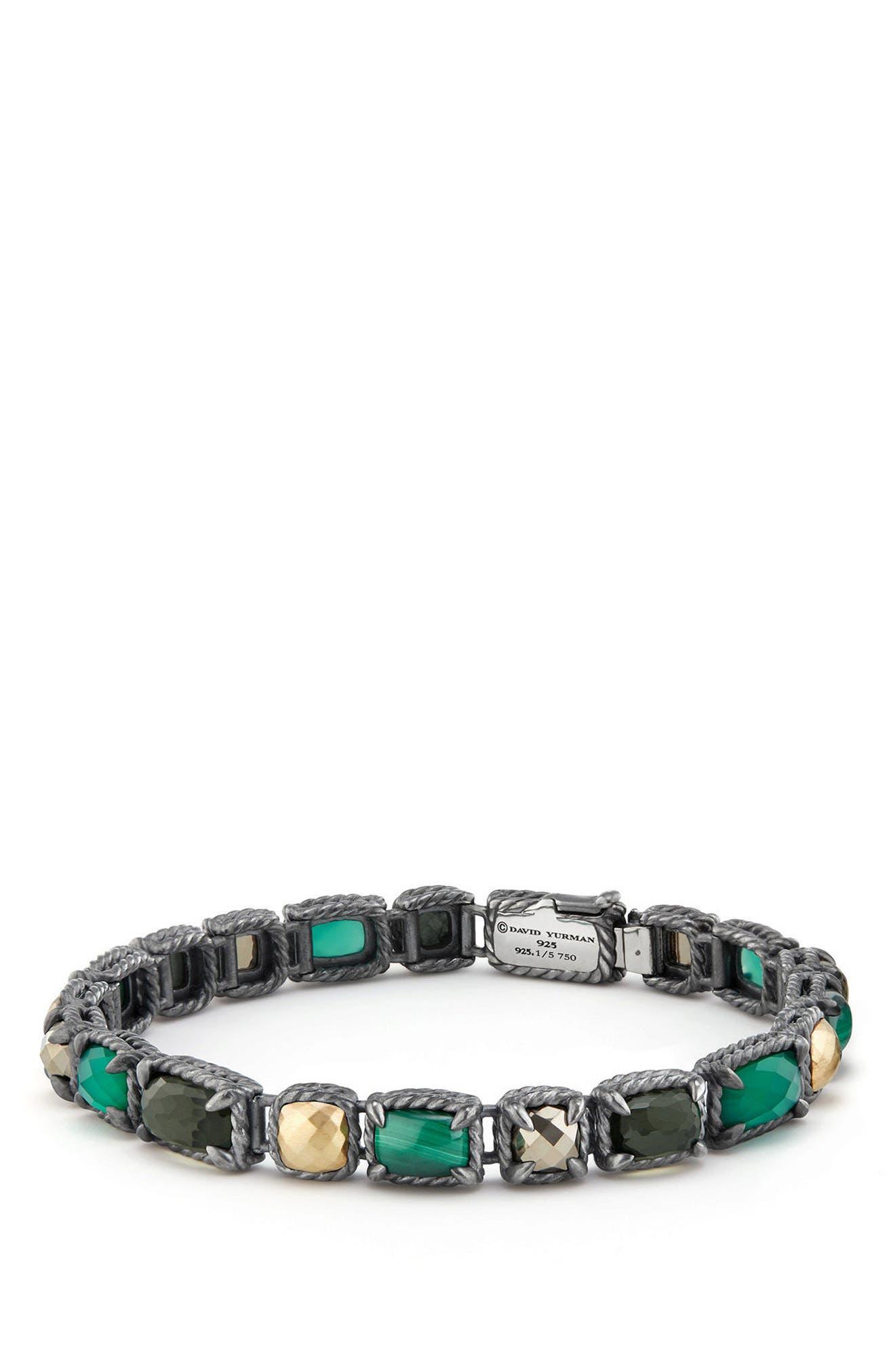 Châtelaine Mosaic Tennis Bracelet with 18K Gold,                         Main,                         color, MALACHITE