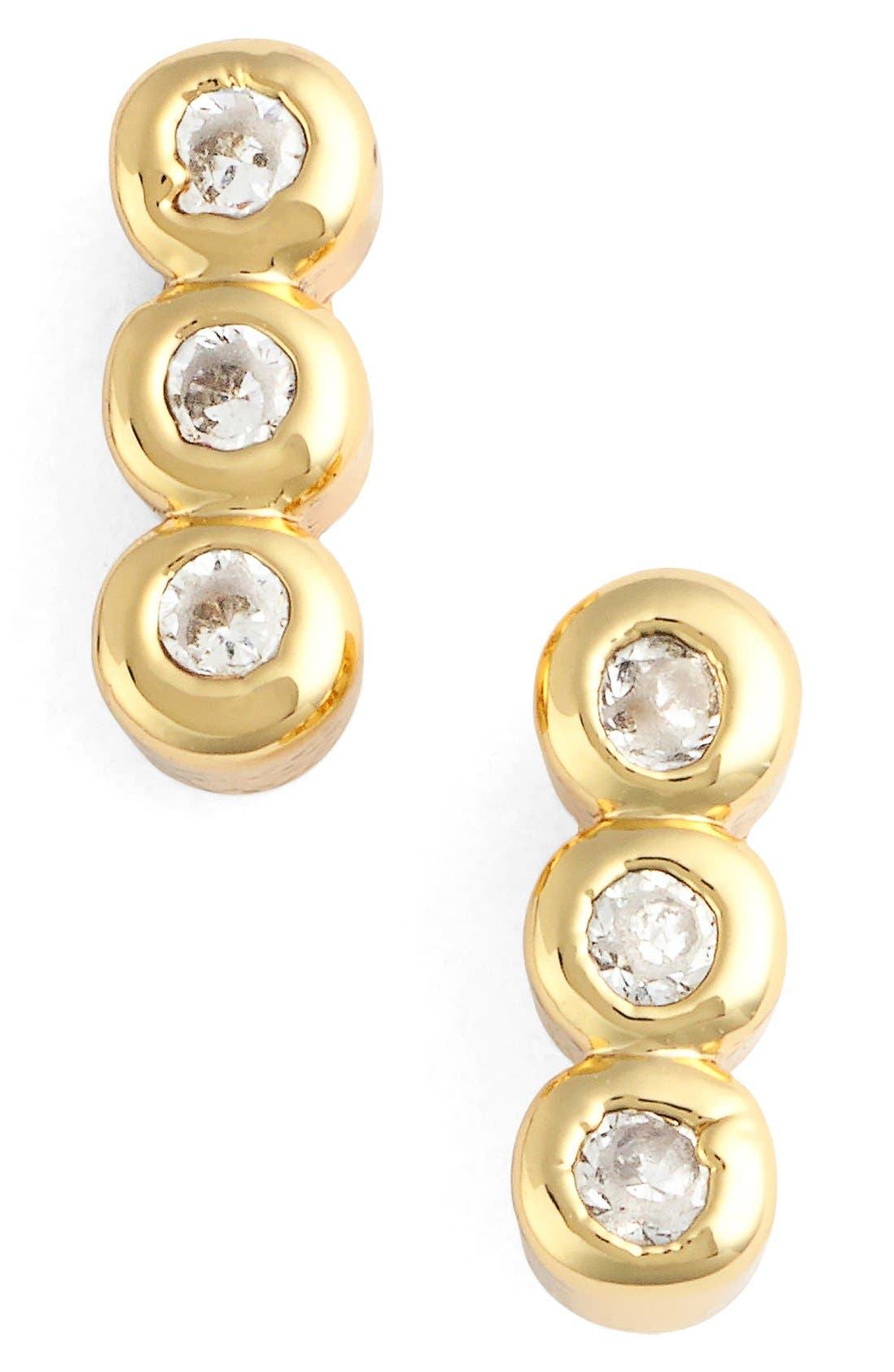 Triple Bezel Stud Earrings,                         Main,                         color, 710