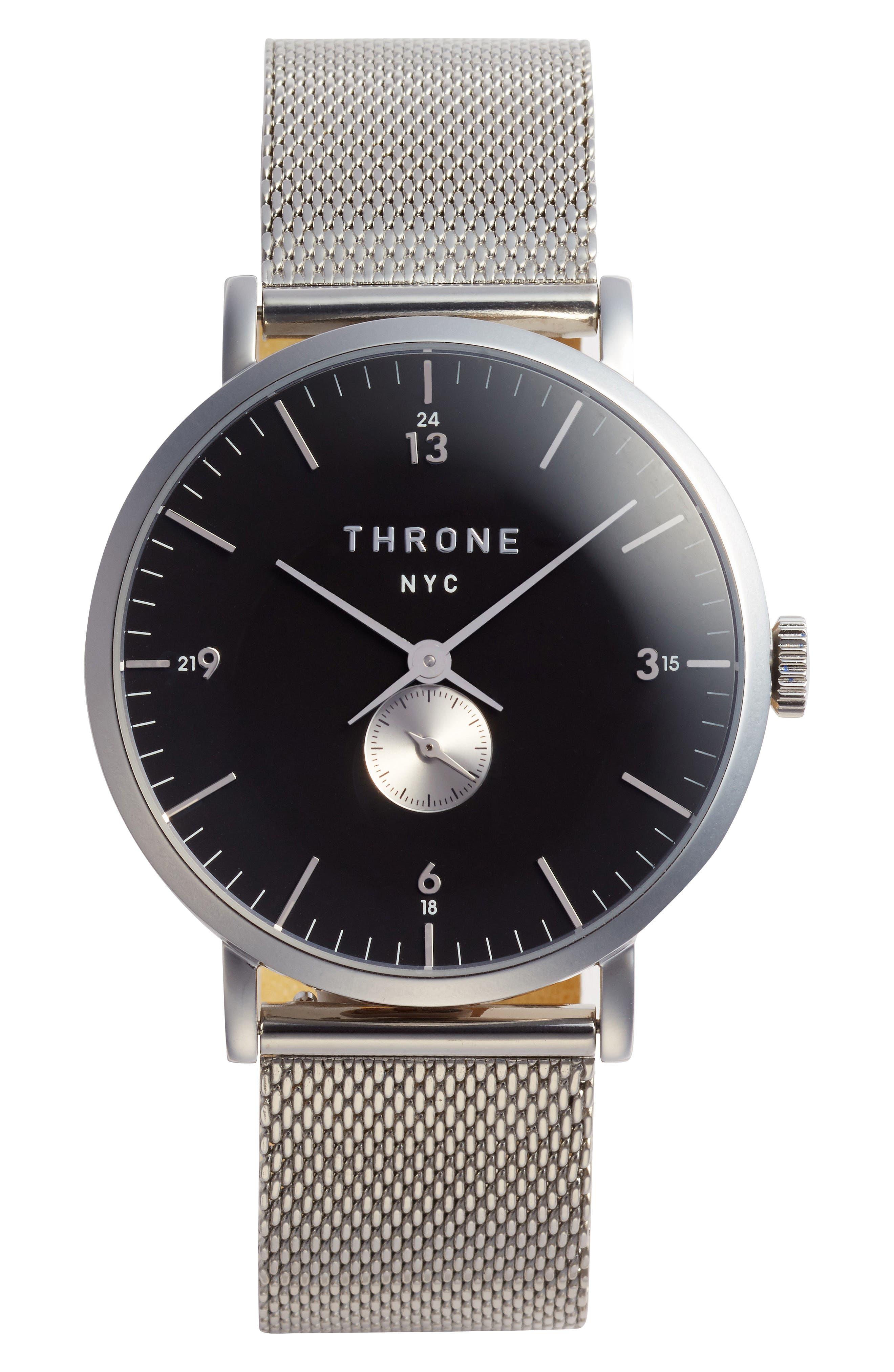 1.0 Mesh Strap Watch, 40mm,                             Main thumbnail 1, color,                             SILVER/ BLACK