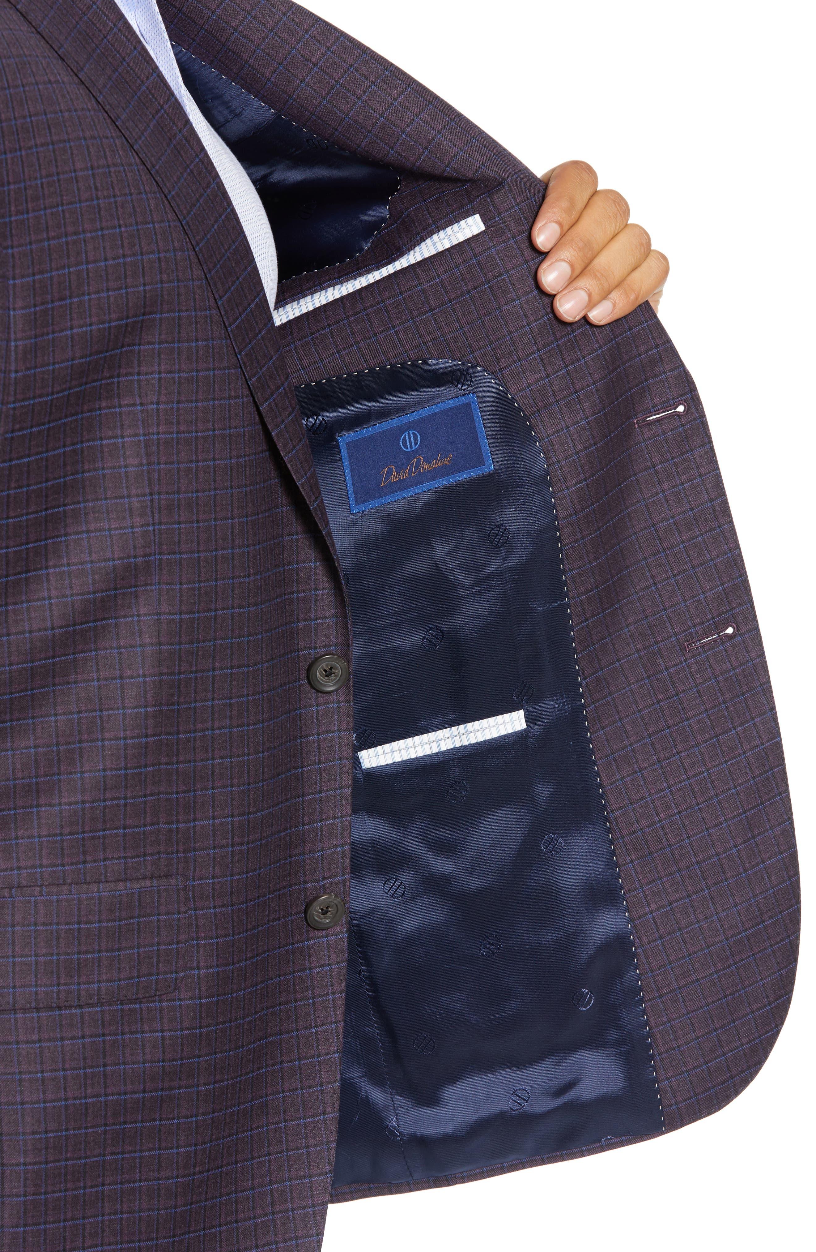 Connor Classic Fit Check Wool Sport Coat,                             Alternate thumbnail 4, color,                             BORDEAUX