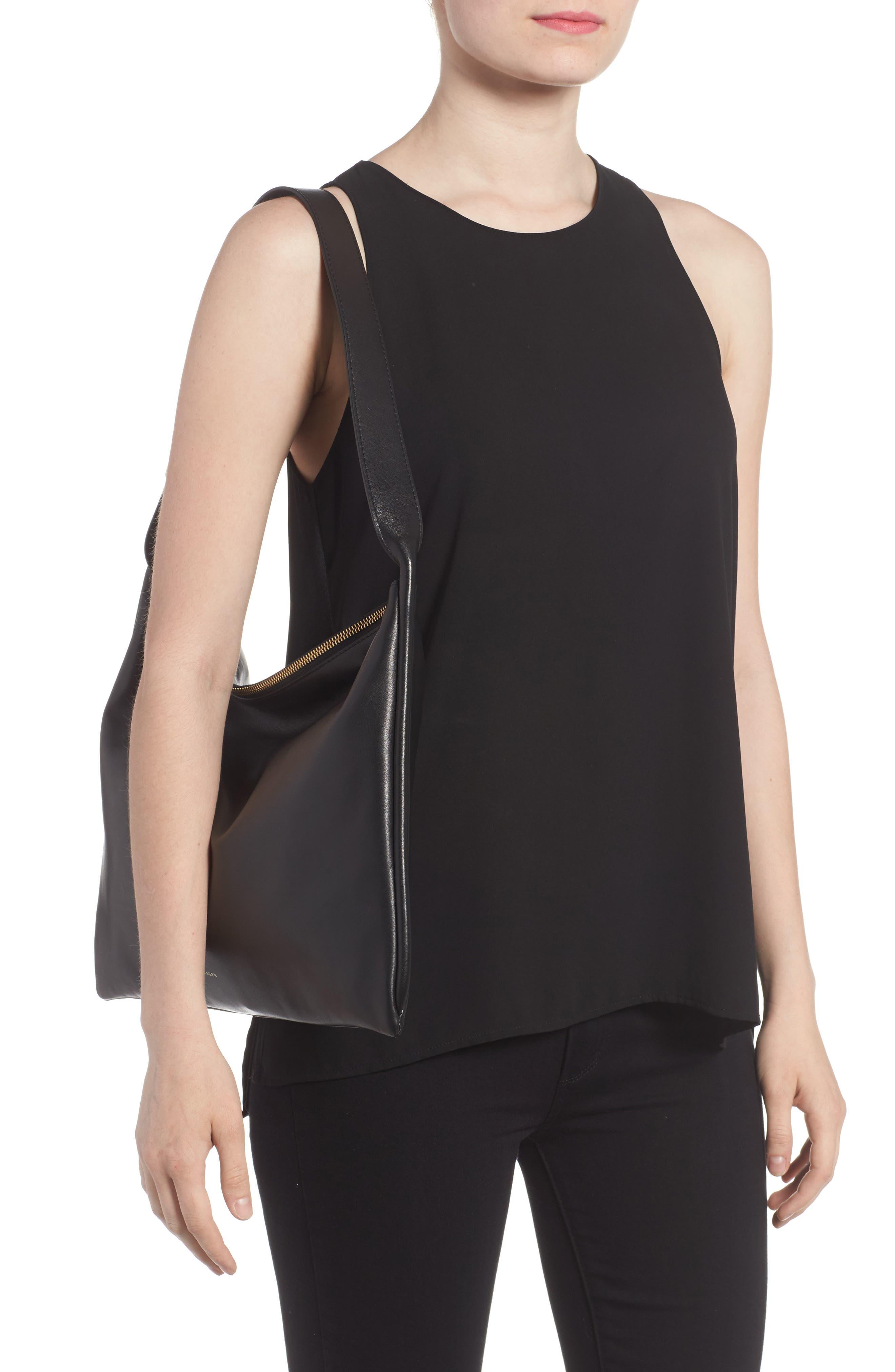 Anesa Leather Shoulder Bag,                             Alternate thumbnail 2, color,                             001