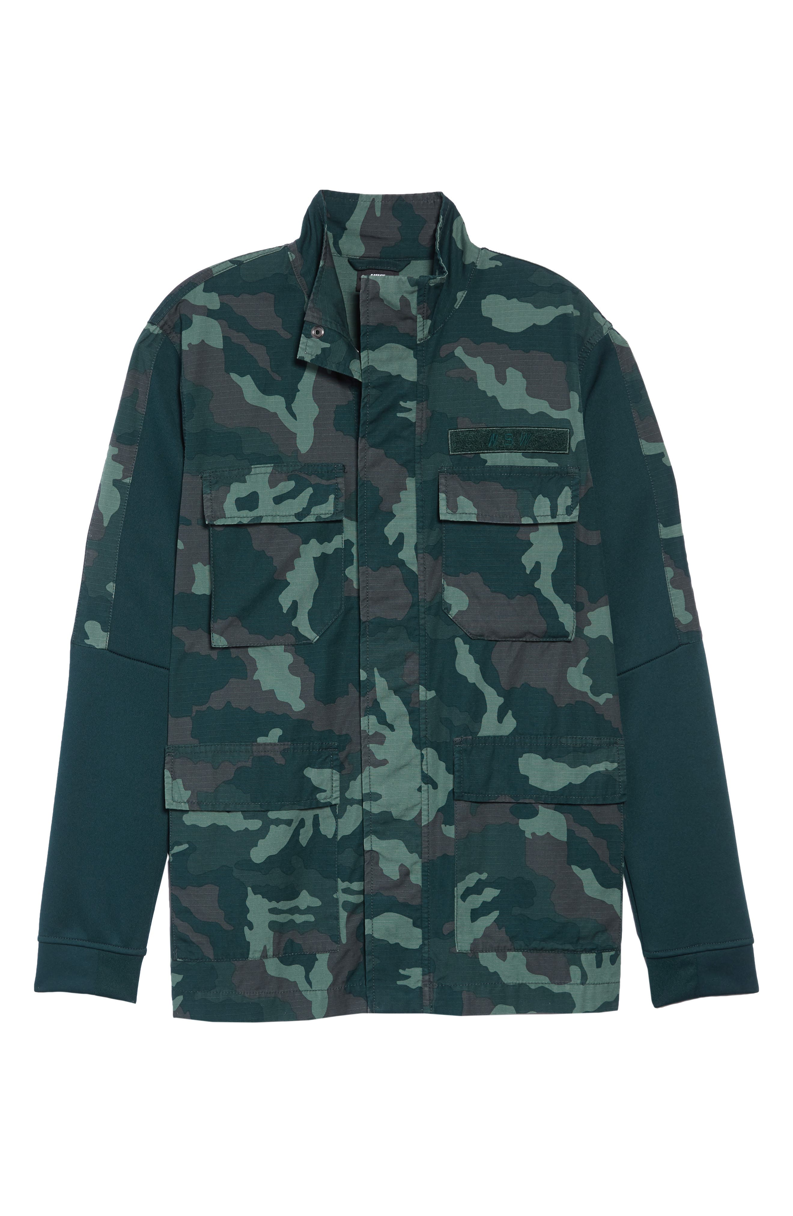 NSW Lightweight Camo Field Jacket,                             Alternate thumbnail 6, color,                             MIDNIGHT SPRUCE