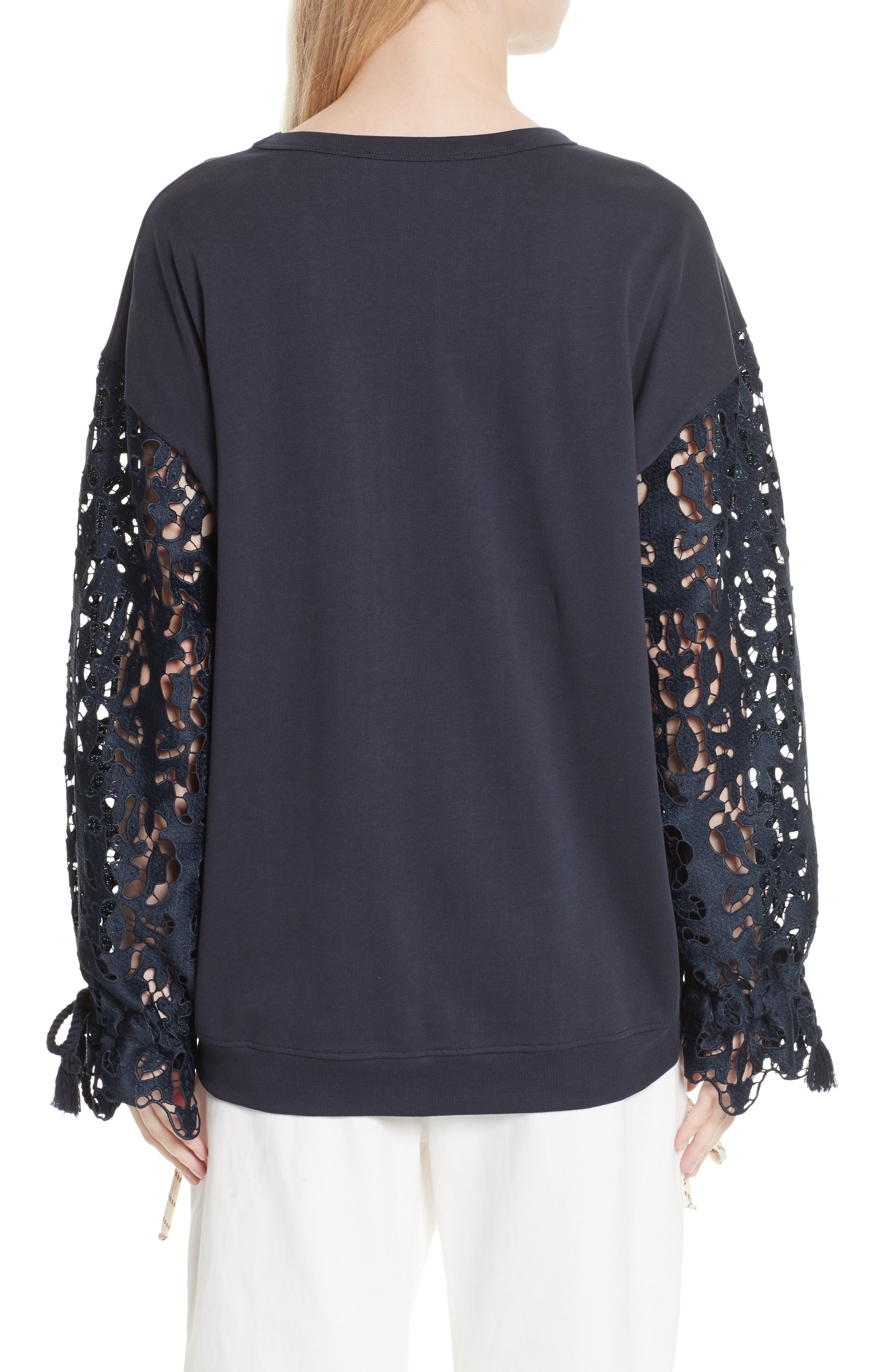 Lace Sleeve Jersey Top,                             Alternate thumbnail 2, color,