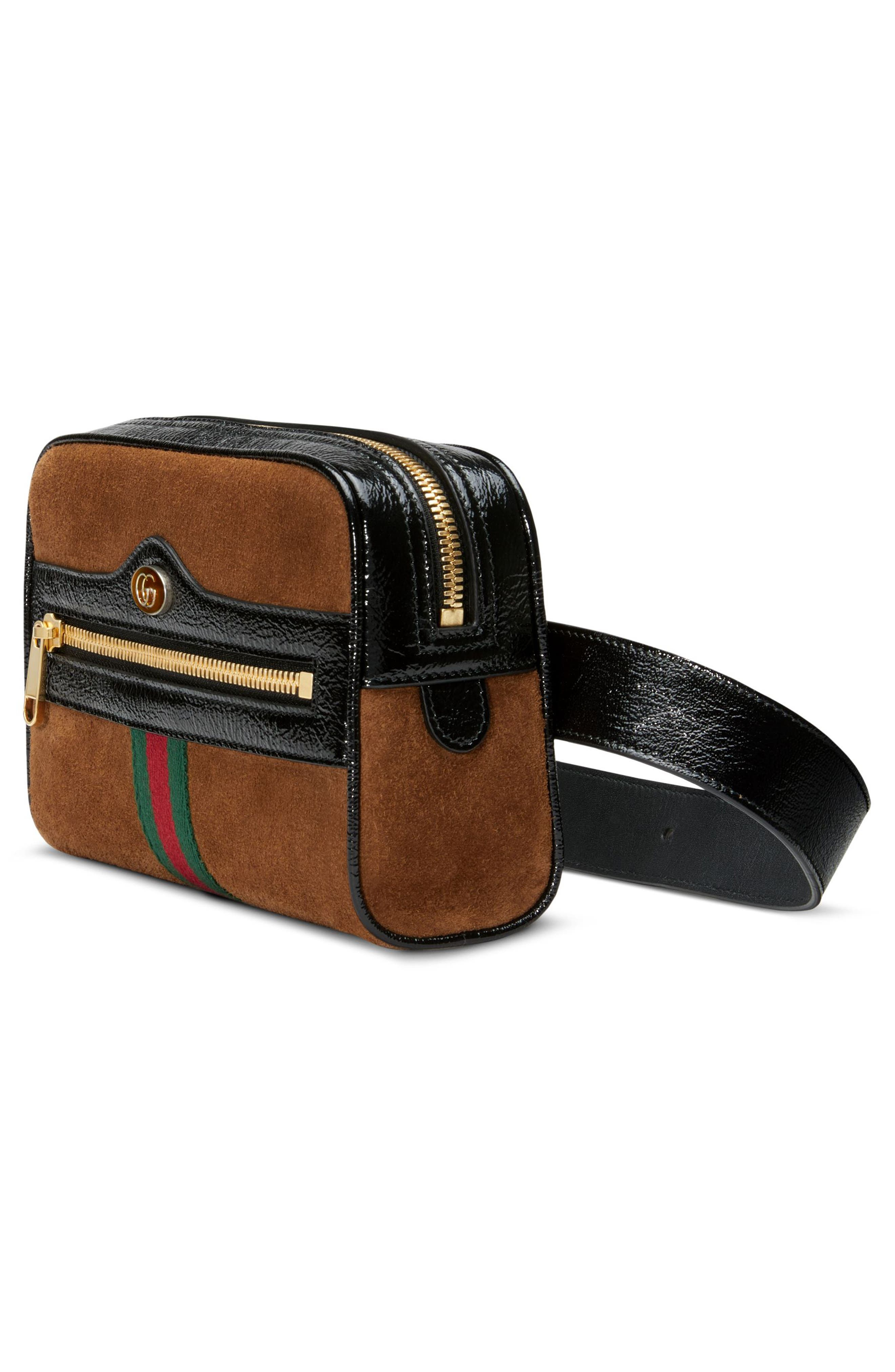 Ophidia Small Suede Belt Bag,                             Alternate thumbnail 6, color,                             NOCCIOLA/ NERO/ VERT RED