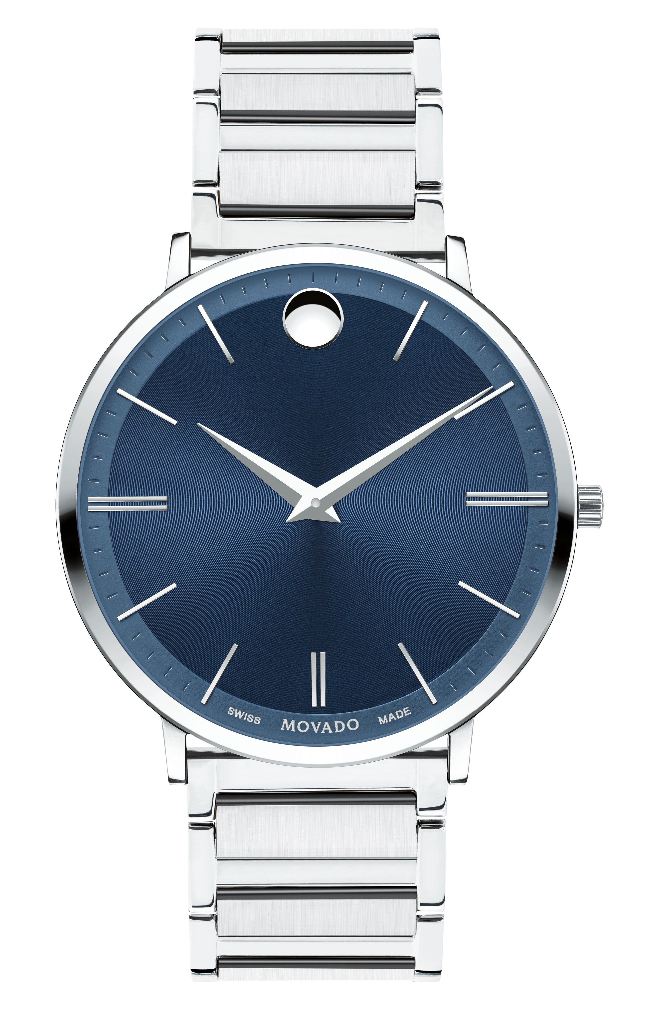MOVADO,                             Ultra Slim Bracelet Watch, 40mm,                             Main thumbnail 1, color,                             SILVER/ BLUE/ SILVER