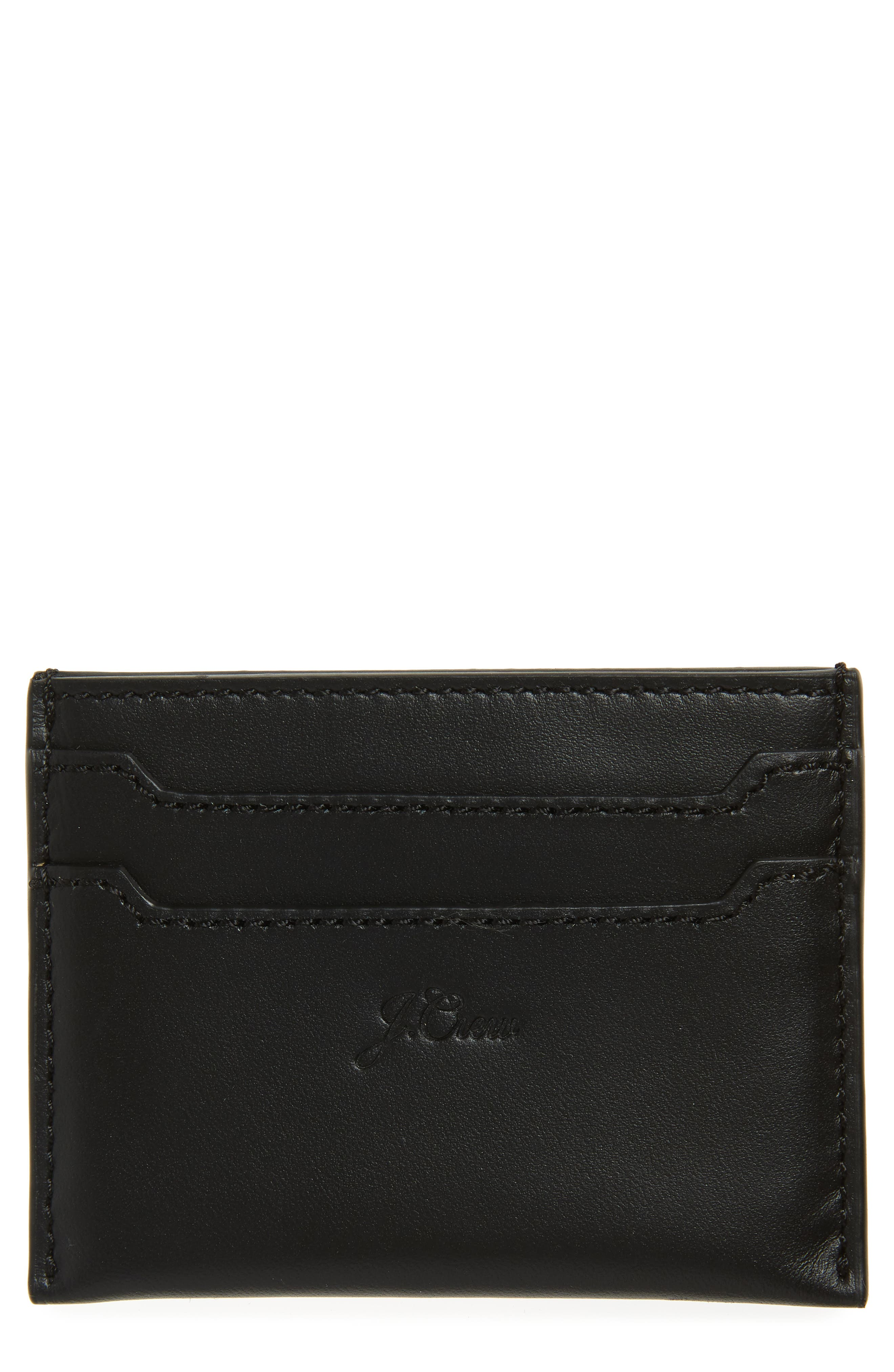 Leather Card Case,                             Main thumbnail 1, color,                             BLACK