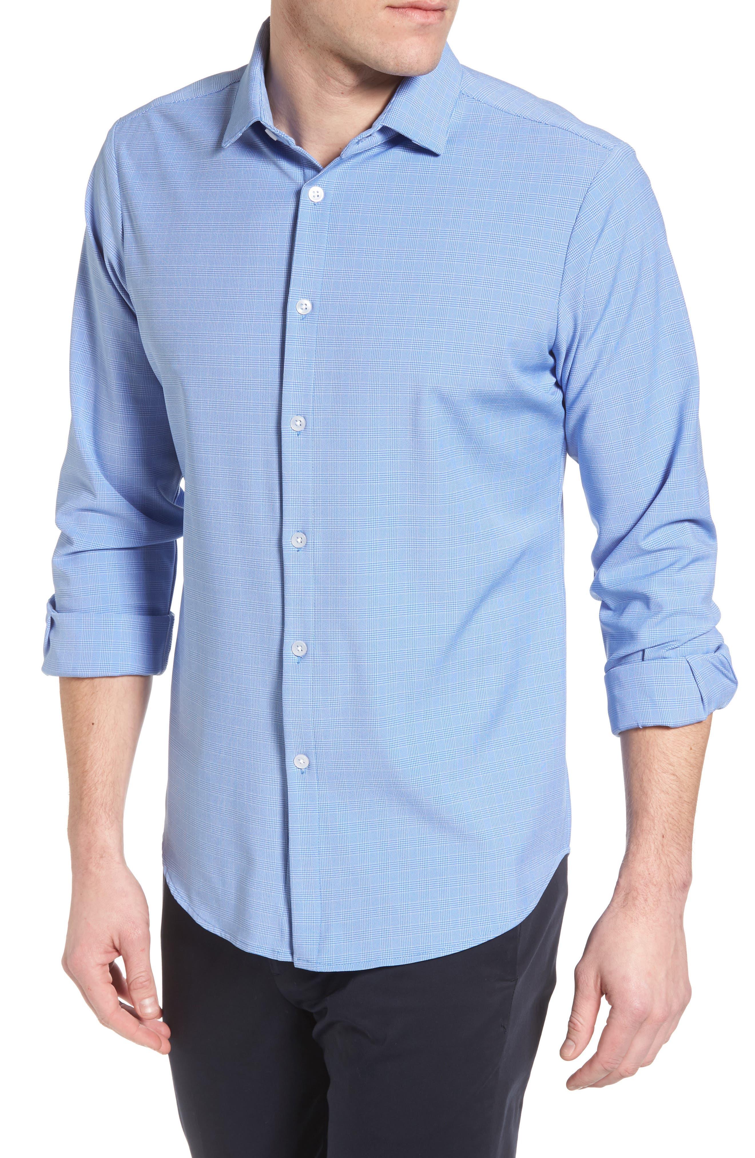 Maverick Slim Fit Plaid Sport Shirt,                             Alternate thumbnail 4, color,                             BLUE