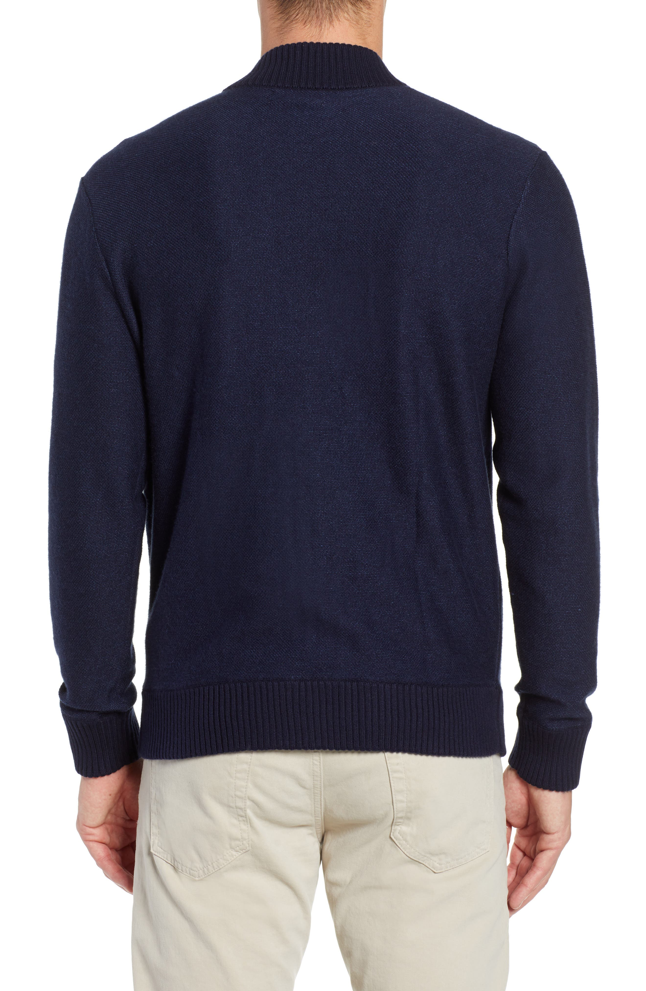 Cotton & Cashmere Bomber Sweater,                             Alternate thumbnail 2, color,                             MIDNIGHT BLUE