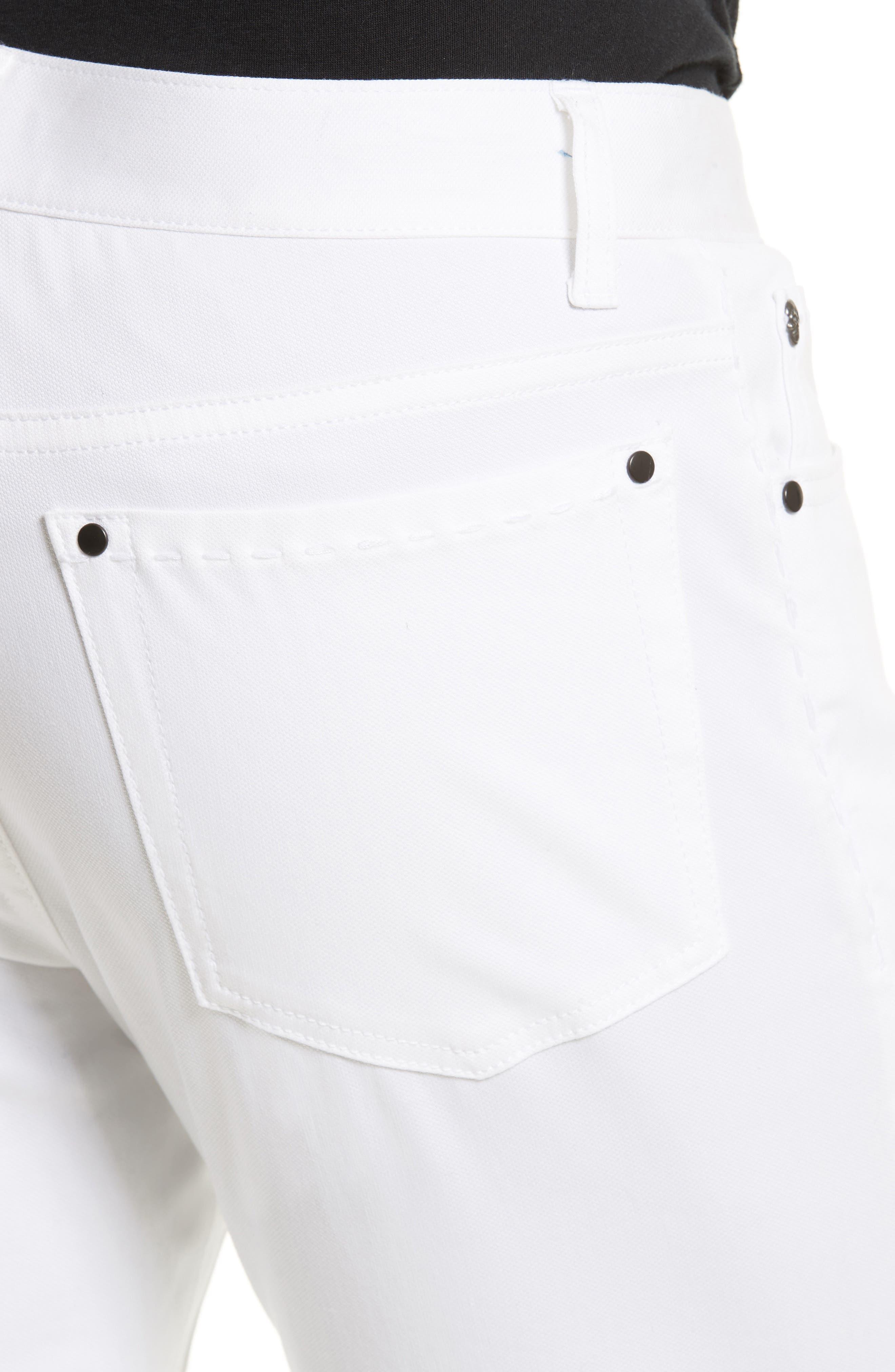 Slim Fit Five Pocket Pants,                             Alternate thumbnail 4, color,                             WHITE